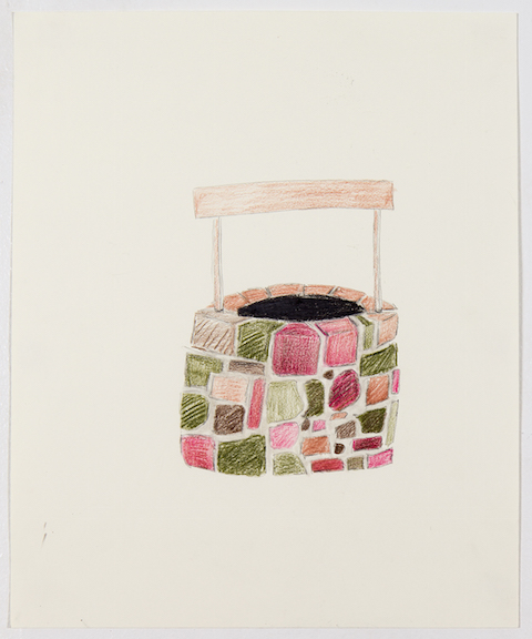 Sofi Brazzeal,  Untitled (well in color) , 2015, pencil and color pencil on paper, 17 x 14 in