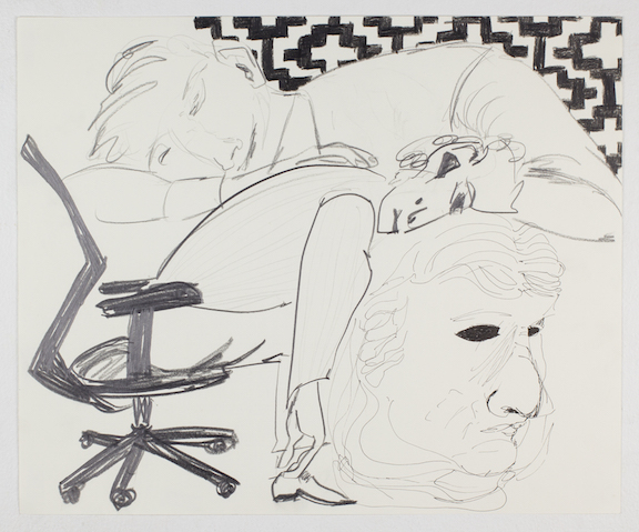 Sofi Brazzeal,  Untitled (group with office chair) , 2015, pencil, color pencil and ink on paper, 14 x 17 in