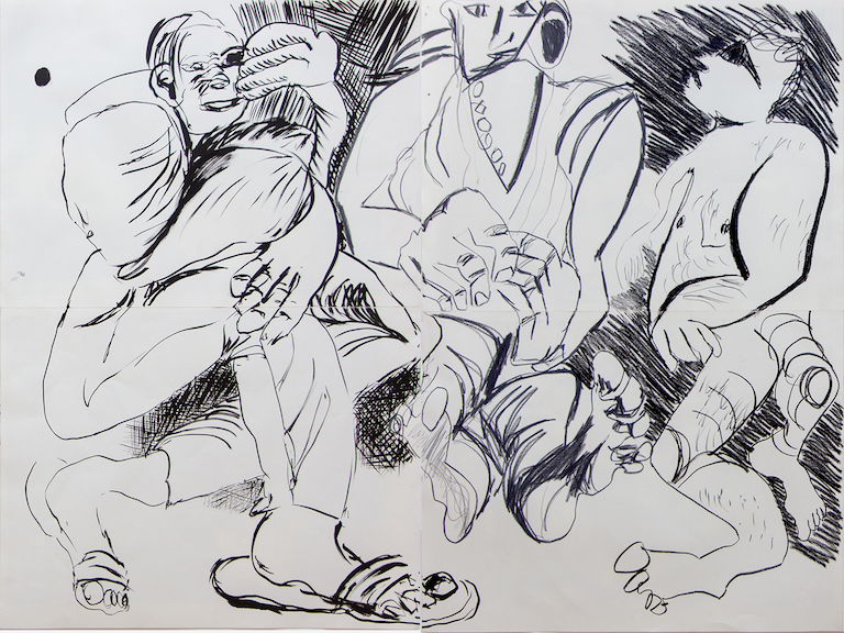 Sofi Brazzeal,  Untitled (three men, two seated, one standing) , 2015, pencil and ink and grease pencil on paper, 36 x 48 in