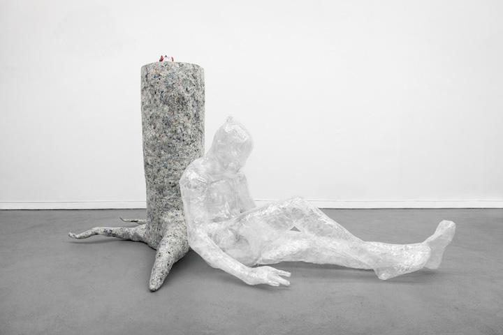 Bea Fremderman, Evan , 2017, packaging tape, self-stick valve, newspaper, chicken wire,35 x 64 x 43 in