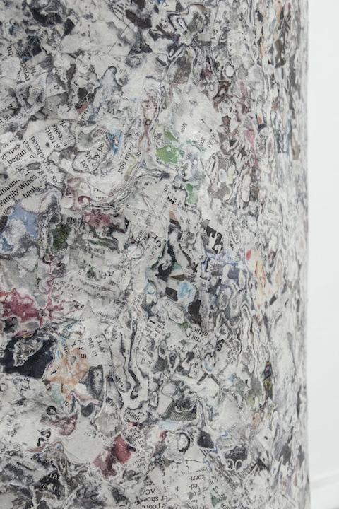 Bea Fremderman, Evan (detail),  2017, packaging tape, self-stick valve, newspaper, chicken wire,35 x 64 x 43 in