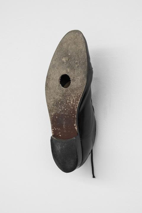 Bea Fremderman, Birdhouse,  2017, mens shoe, size 14,12 x 4.5 x 4 in