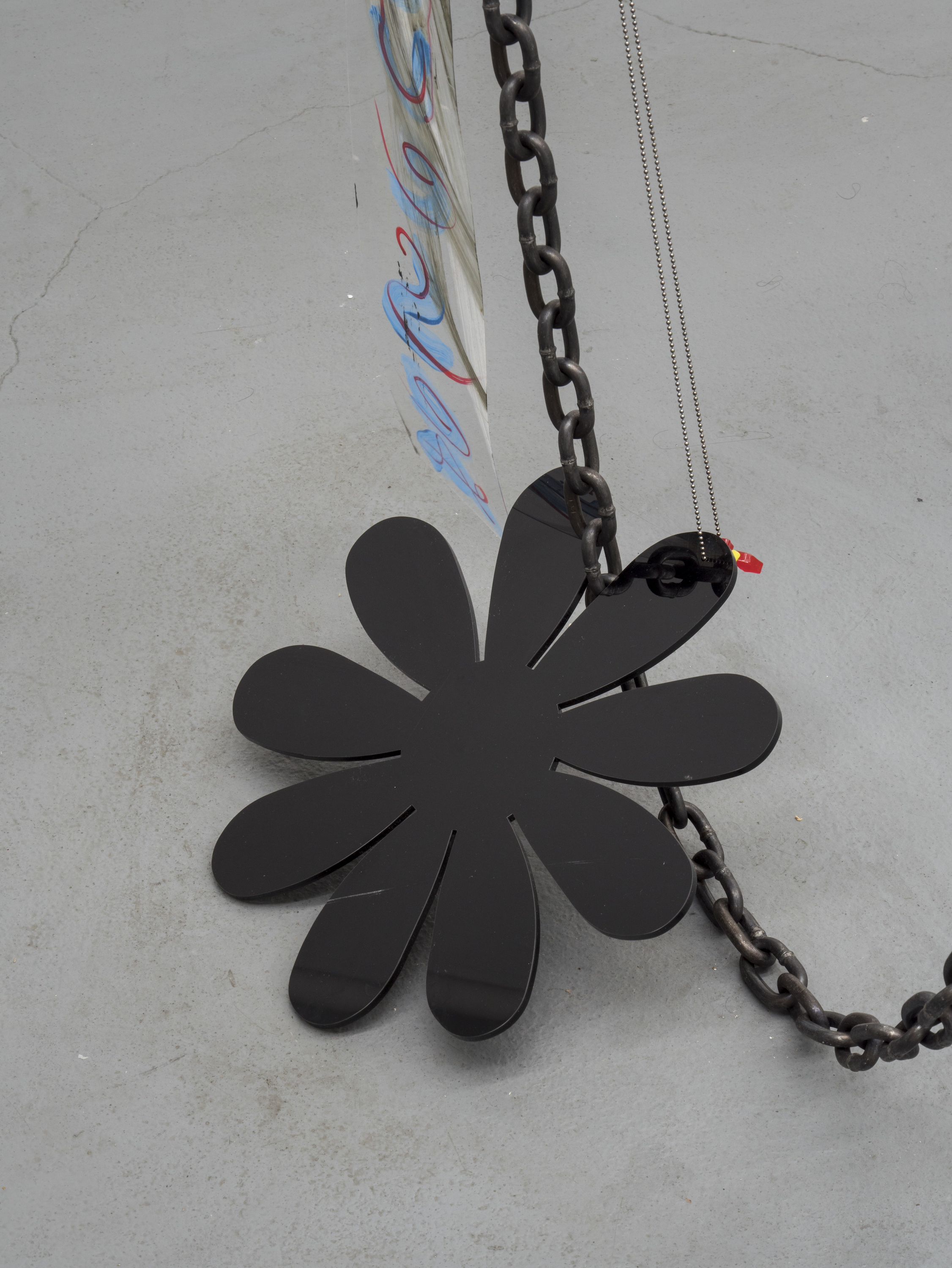 Raque Ford,  DaisyME (detail),  2017, acrylic paint on polypropelene, steel chain, ball chain, zip ties and acrylic, 86 x 32 in
