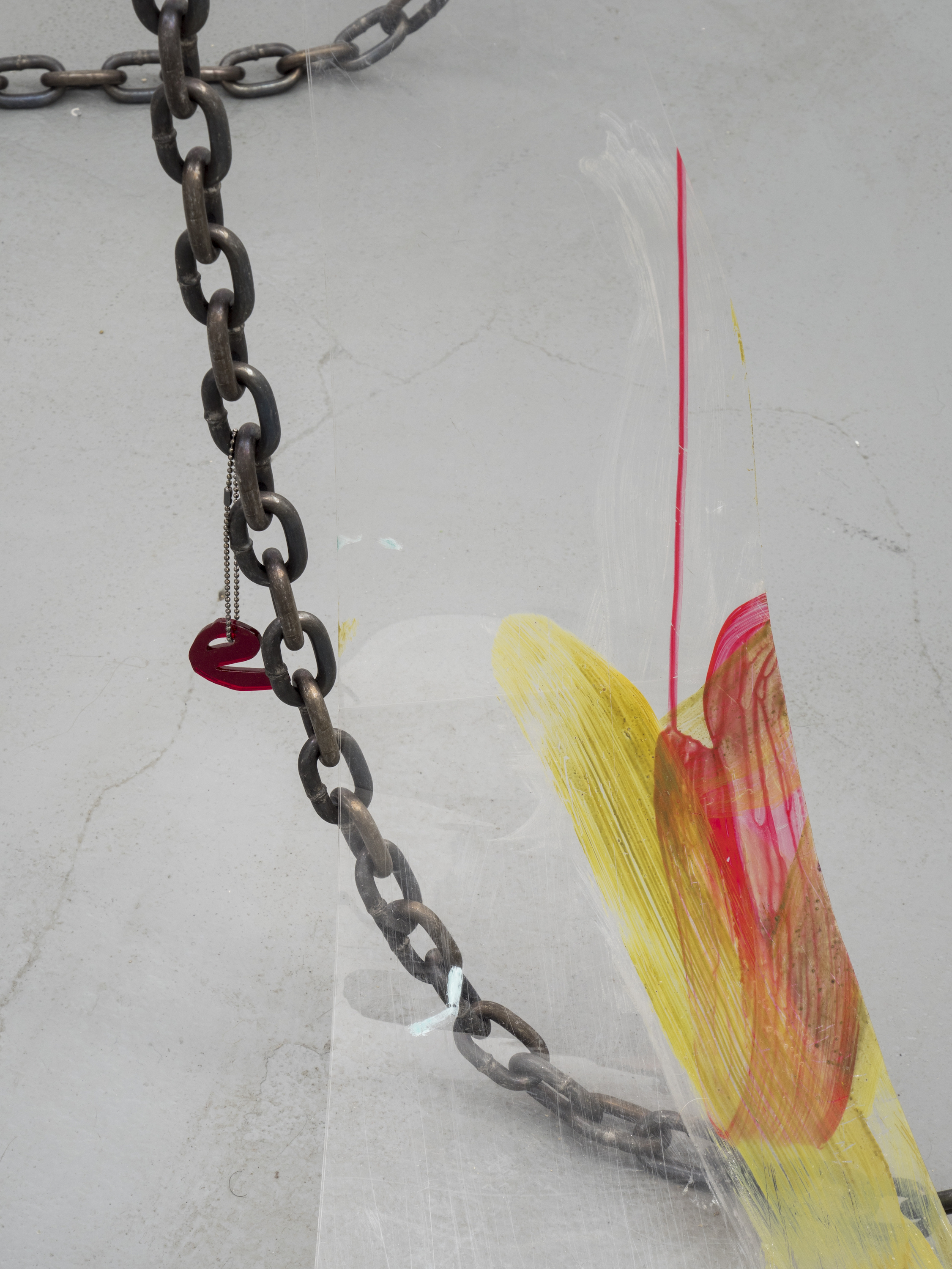 Raque Ford,  e (detail),  2017, acrylic paint on polypropelene, steel chain, and zip ties, 86 x 30 in