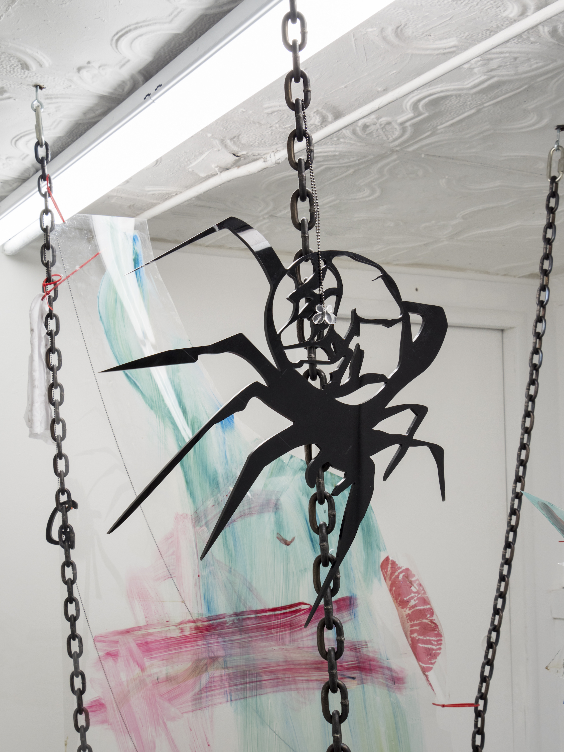 Raque Ford,  Horny Spider Butterfly (detail),  2017, acrylic paint on polypropelene, steel chain, ball chain, butterfly bead, zip ties and acrylic, 85 x 31 in