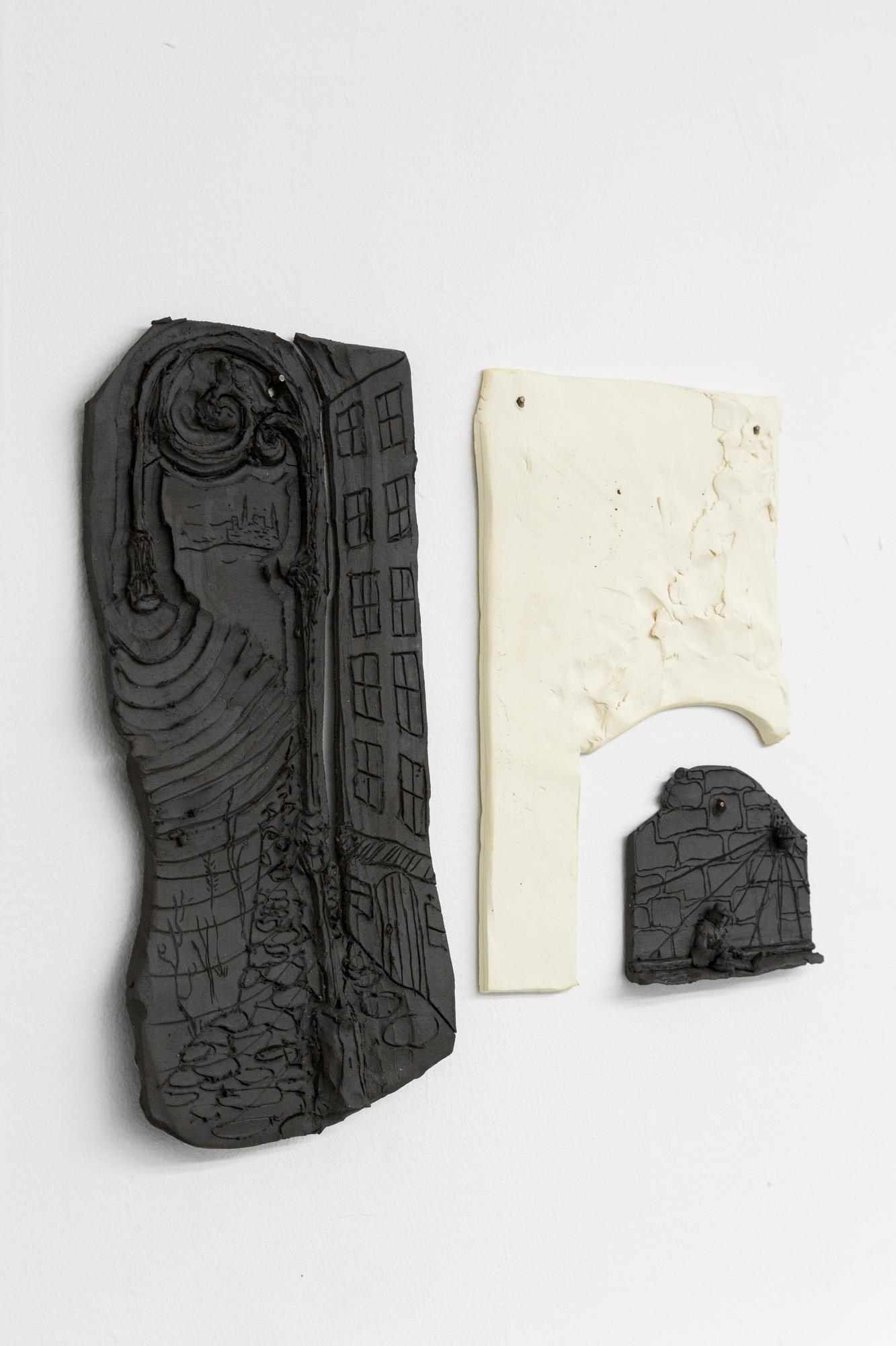Tom Forkin, Manhattan (detail),  2017,unglazed ceramic,14 x 16 x 0.5 in