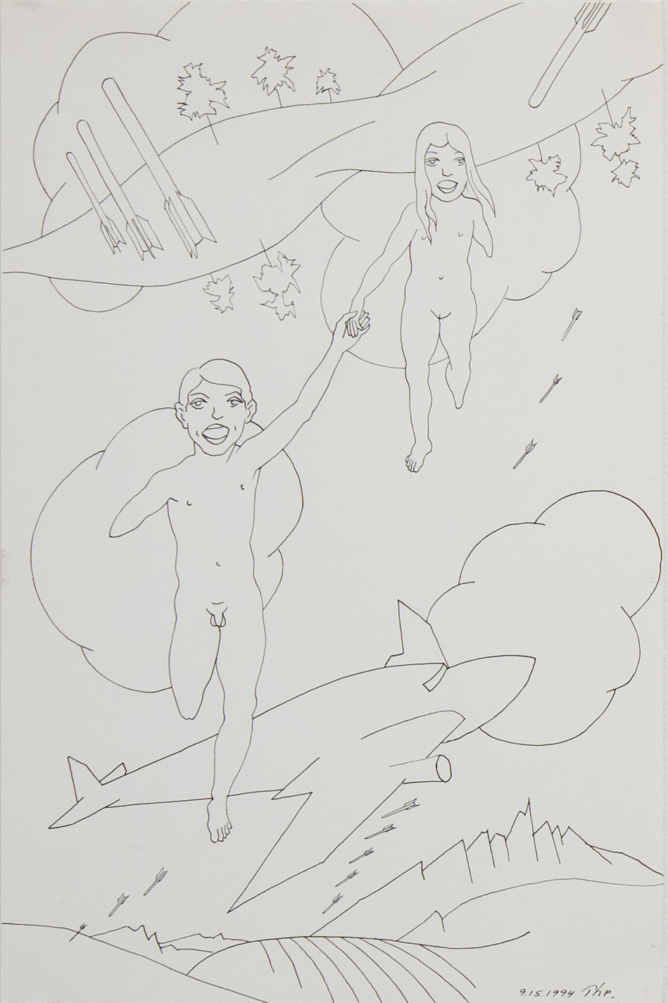 Theodore Titolo,  Happy Children , 1994, drawing on paper, 16 x 10.5 in