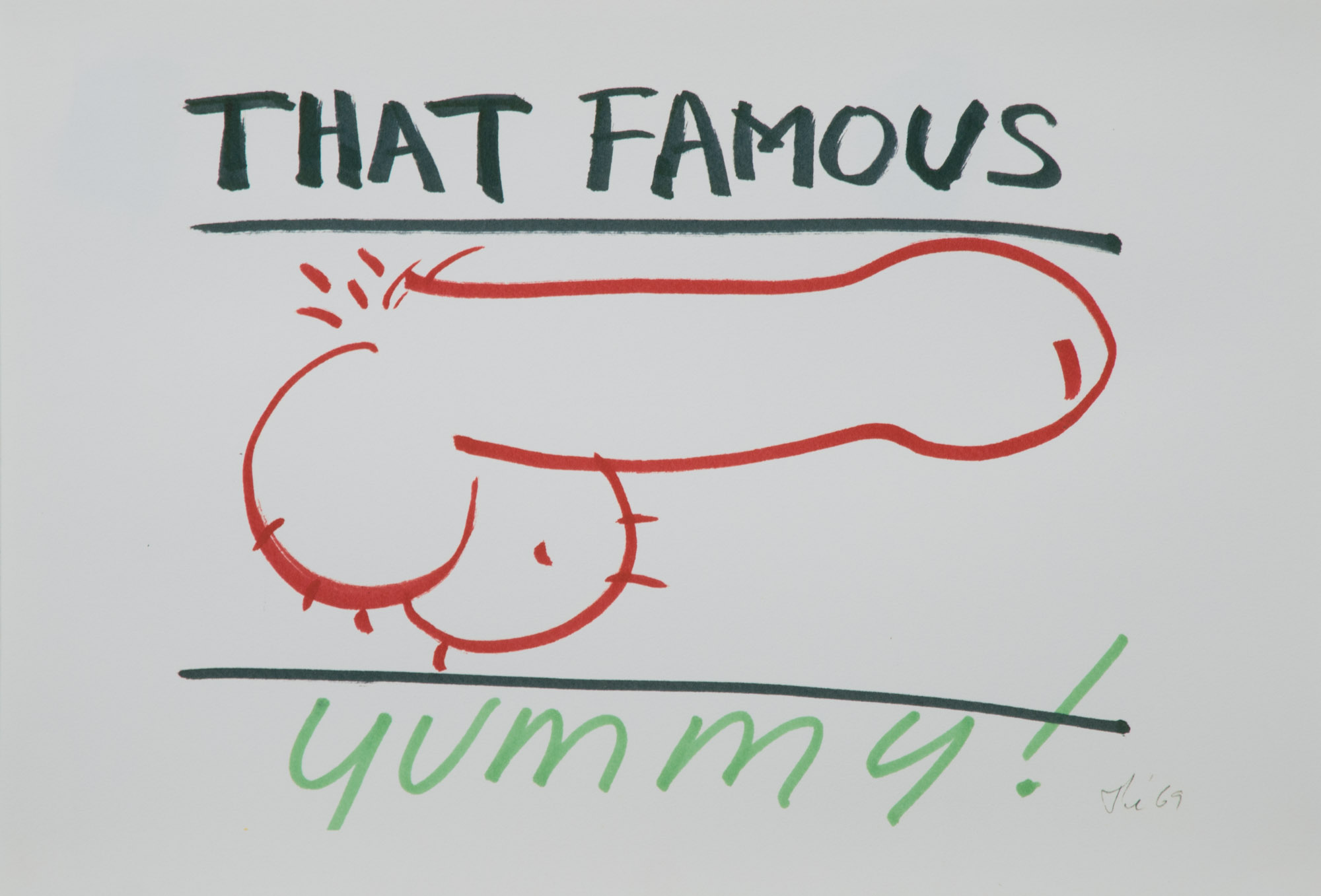 Theodore Titolo,  That Famous Yummy! , 1969, marker on paper, 13 x 18.5 in