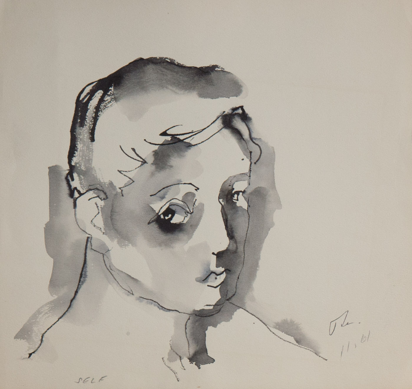 Theodore Titolo,  Self Portrait , 1961, ink and pencil on paper, 11.5 x 12 in