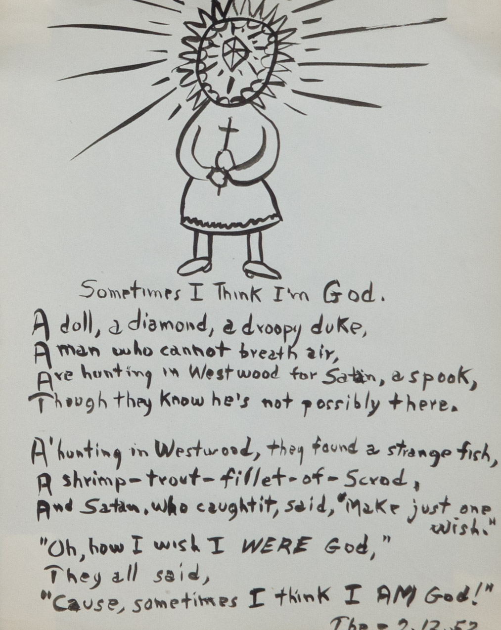 Theodore Titolo,  Sometimes I Think I'm God , 1952, india ink on paper, 11 x 8.5 in