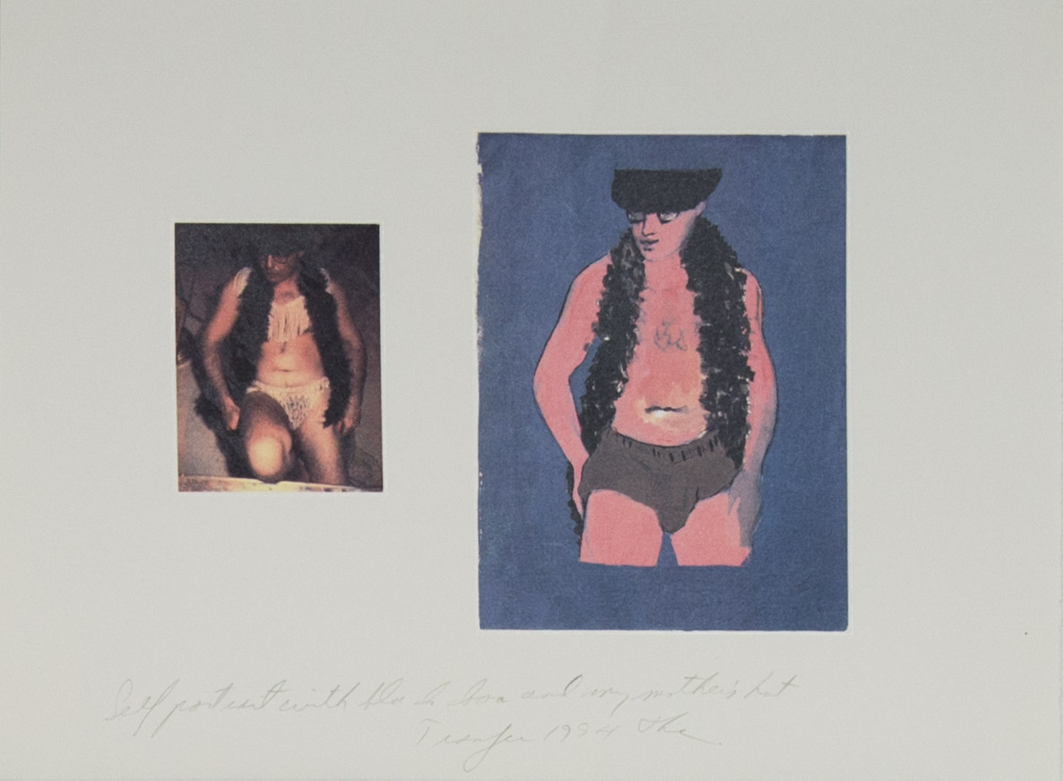 Theodore Titolo,  Self Portrait with Black Boa and My Mother's Hat , 1994, transfer print, 11 × 15 in