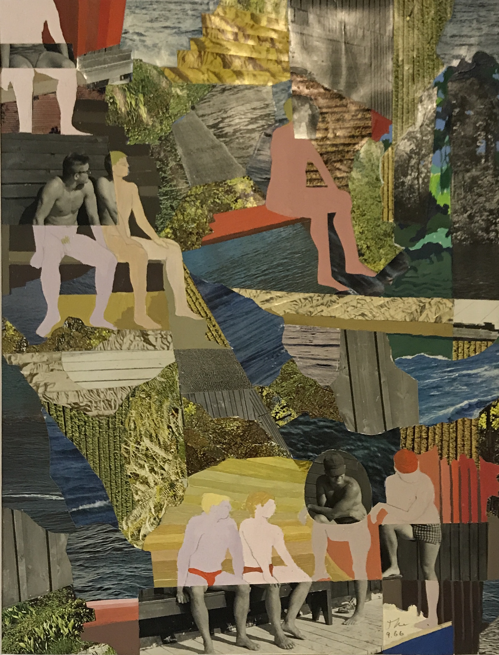Theodore Titolo,    Summer Camp Counslers , 1966, collage, 20 x 16 in