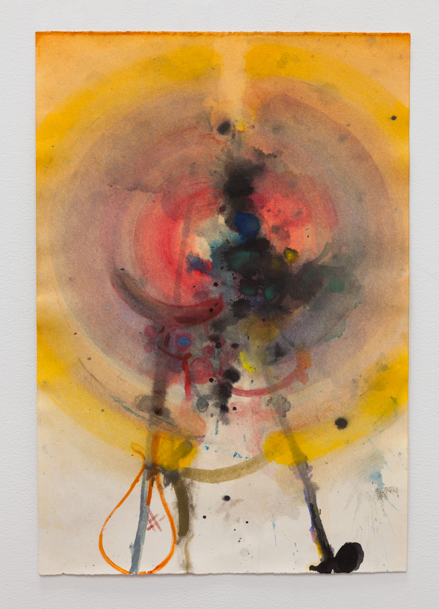 Matthew Savitsky,  Angel Study 05 (Smoky Yellow Wings with Crutch) , 2017, watercolor on paper, 13 1/2 × 20 in