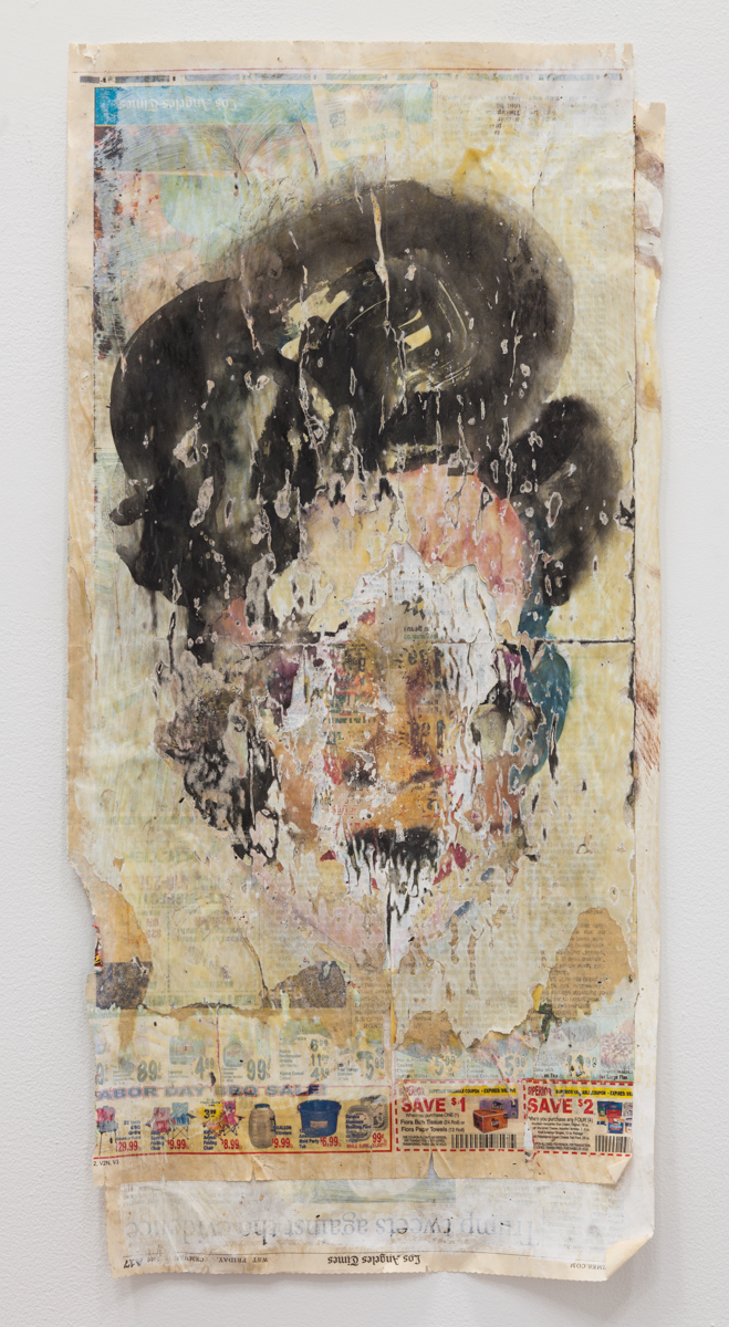 Matthew Savitsky,  Rubbed Faces , 2017, watercolor, newspaper, wood glue, 11 1/2 × 24 in