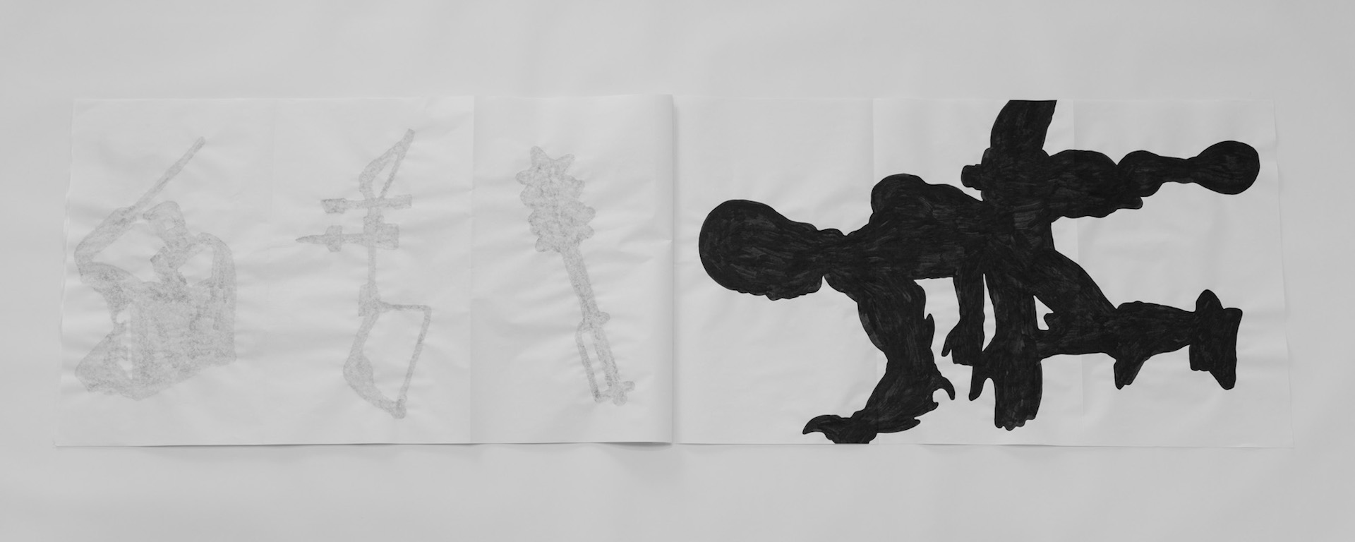 Harsh Patel,   MOTU (Masters Of The Universe) (detail) , 2018, paper, ink, nickel, 26 × 46 in