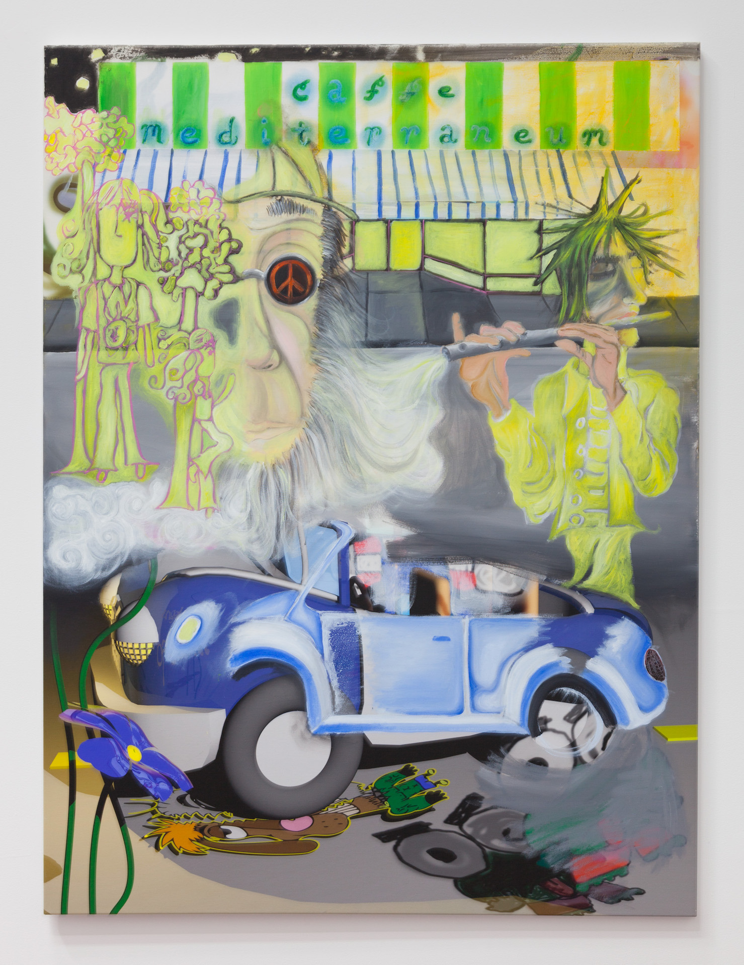 Rafael Delacruz,   17 r*i*p cafe med - mr. patches says cafe*mediterraneum can now funk in a greasy peace , 2017, inkjet print and acrylic on canvas, 48 × 36 in
