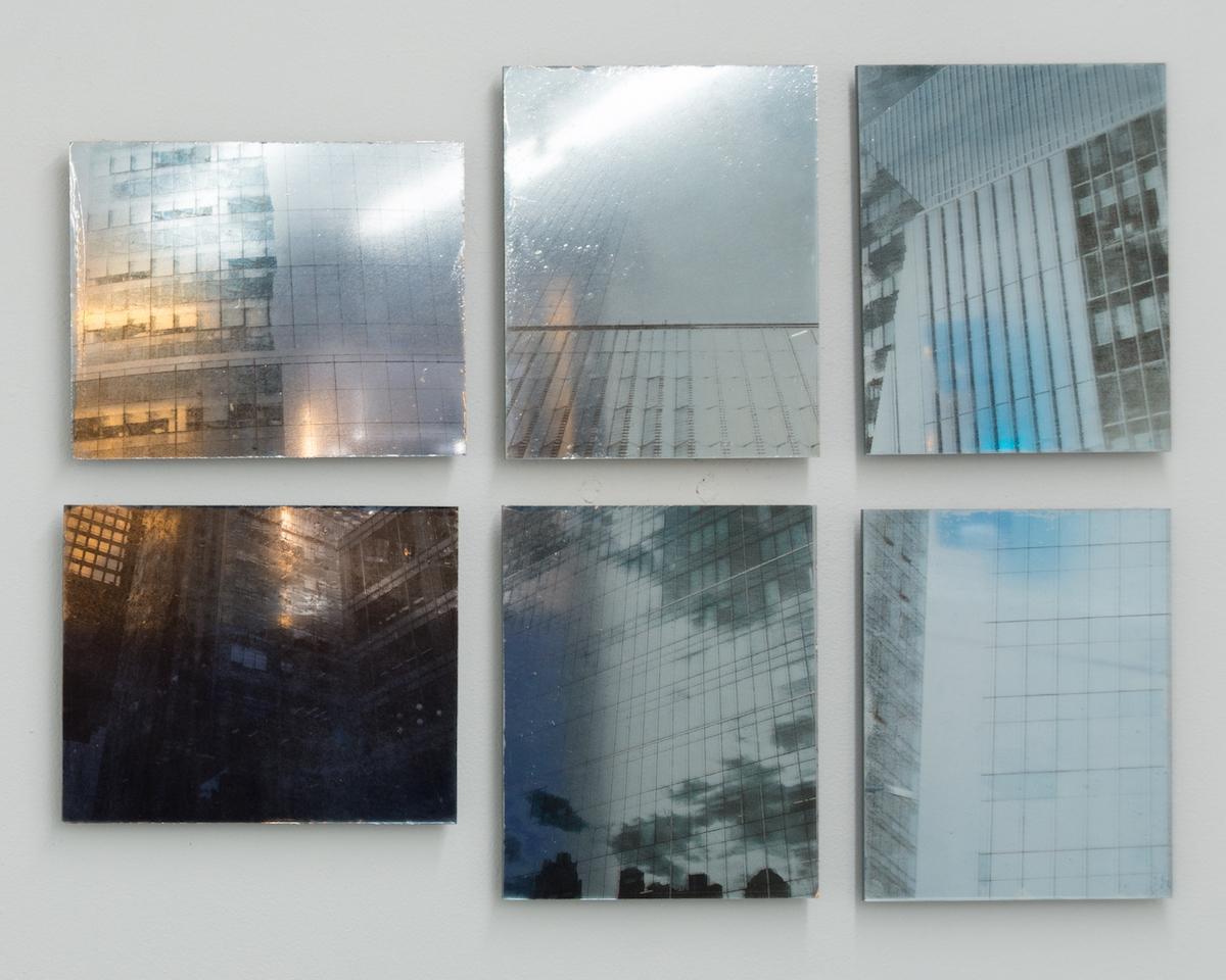 Elizabeth Karp-Evans, Mirrors and Windows (1 – 6) , 2018, inkjet print on Mylar, mounted on mirror, 10 × 8 in