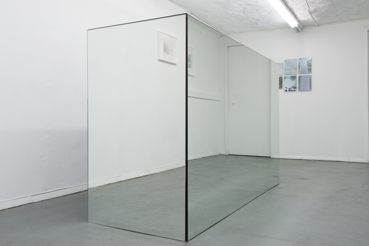 Elizabeth Karp-Evans, Resting Place 1 (Prototype for a Better Life) , 2018, mirror mounted on wood, house paint, 49 × 77 × 29 in