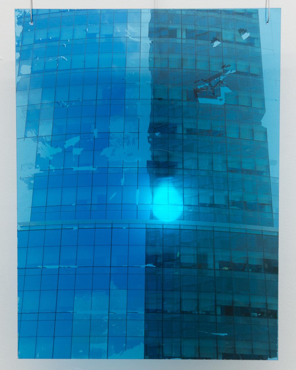 Elizabeth Karp-Evans,   Windowpane (Long Island City) , 2018, photo transfer mounted on plexiglass, colored light, steel wire, 23 × 18 in