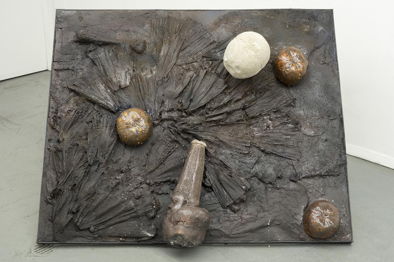 Brandon C Ndife,   Native to… , 2018, Cast resin, Aqua-resin, raw pigment, wood, steel, 32 × 50 × 37 in