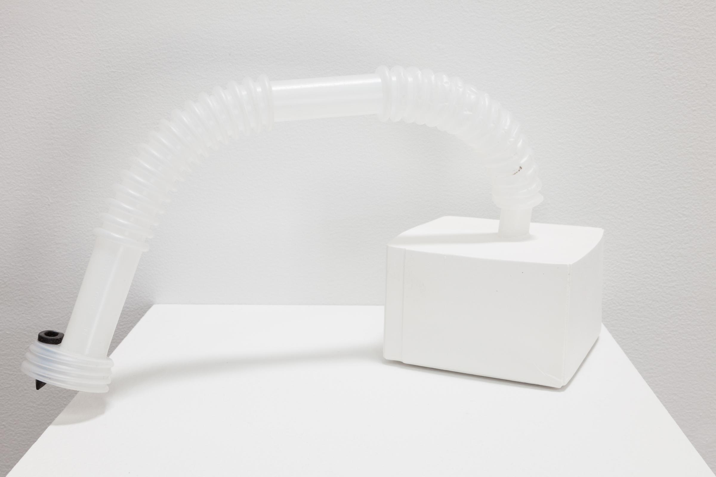 Deborah Hede,  Untitled , 2012, black plastic tubing, plaster, 5 × 6 × 5 in