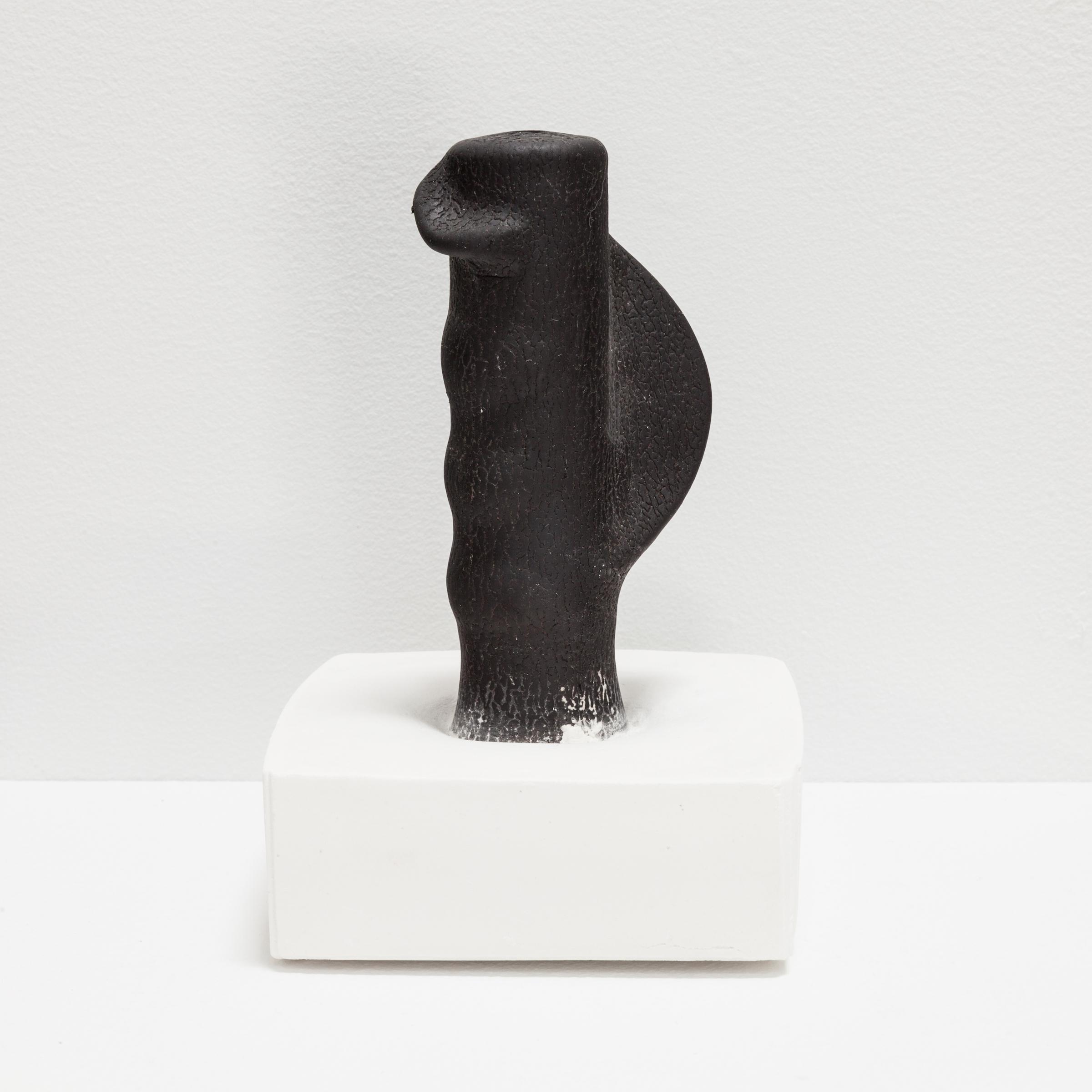Deborah Hede,  Black Foam , 2014, foam fragment, plaster, 3 ¾ × 4 × 4 in