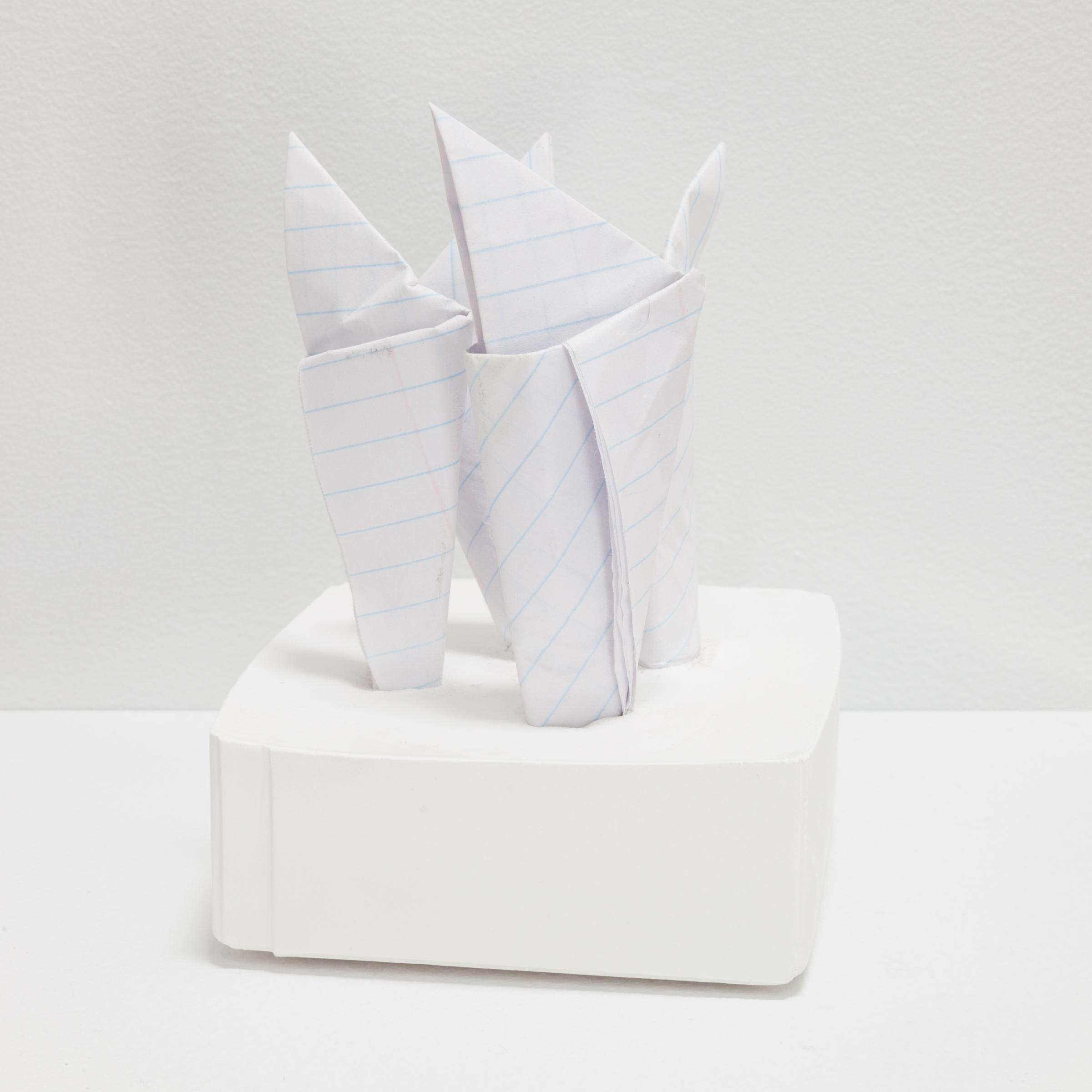 Deborah Hede,  Folded paper , 2014, ruled paper, plaster, 5 ¾ × 4 × 4 in