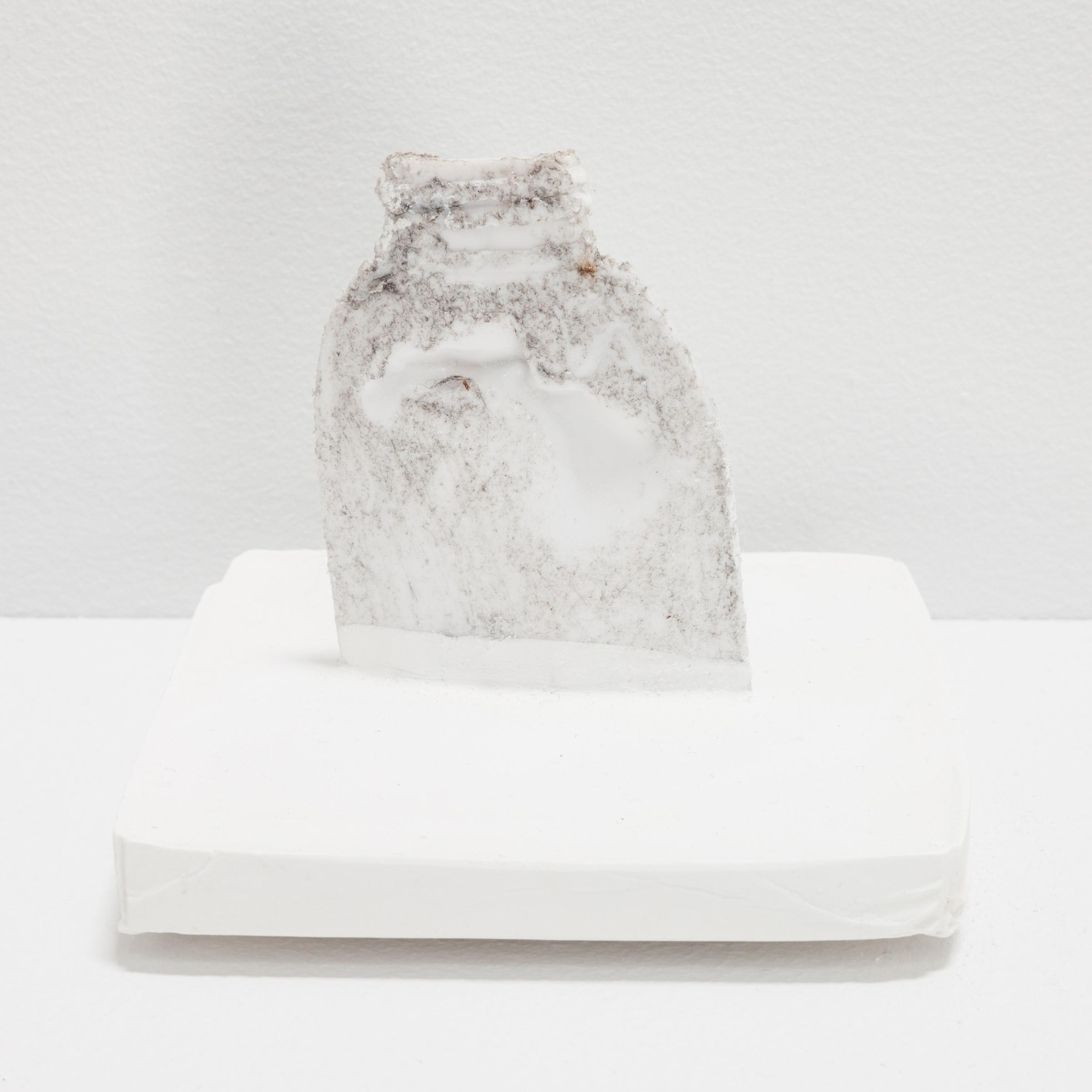 Deborah Hede,  White Plastic Bottle (small) , 2014, plastic bottle, plaster, 4 ⅛ × 4 × 4 in