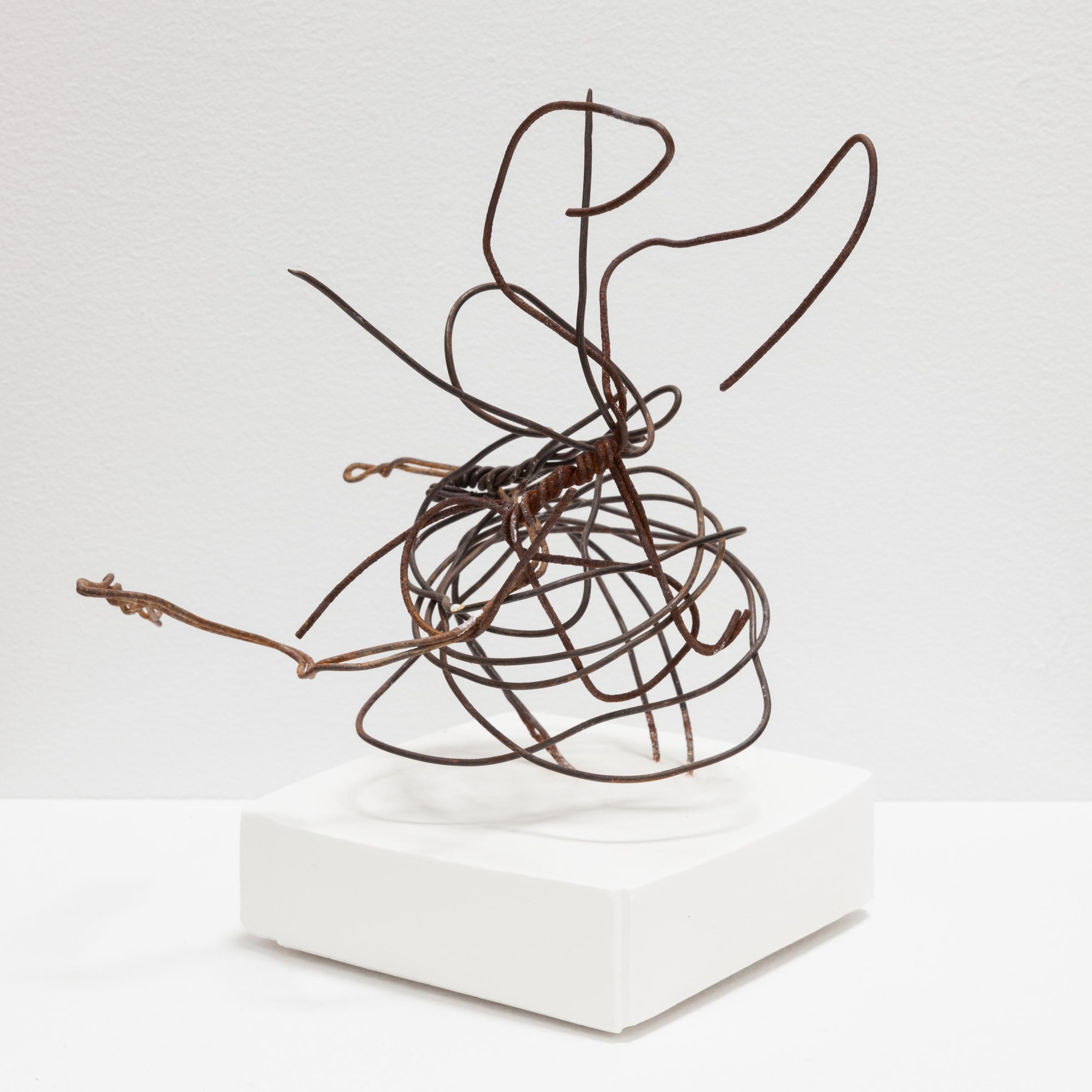 Deborah Hede,  Wire Hanger , 2017, wire, plaster, 7 × 4 × 4 in