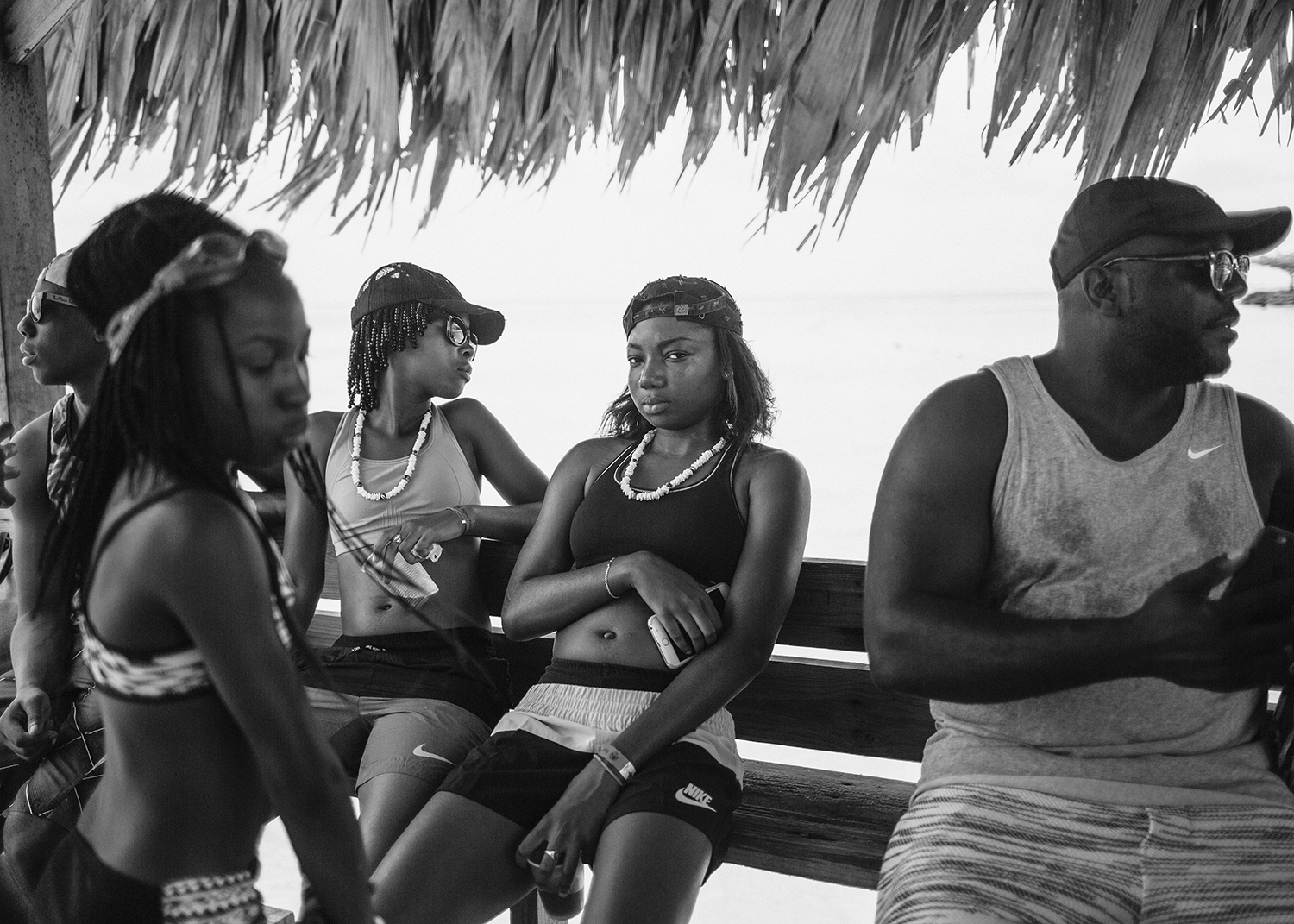 Sasha Phyars-Burgess,  Glass Bottom, Pigeon Point, Tobago (SEA FULL),  2018, black and white print on paper 58 × 81 ½ in.