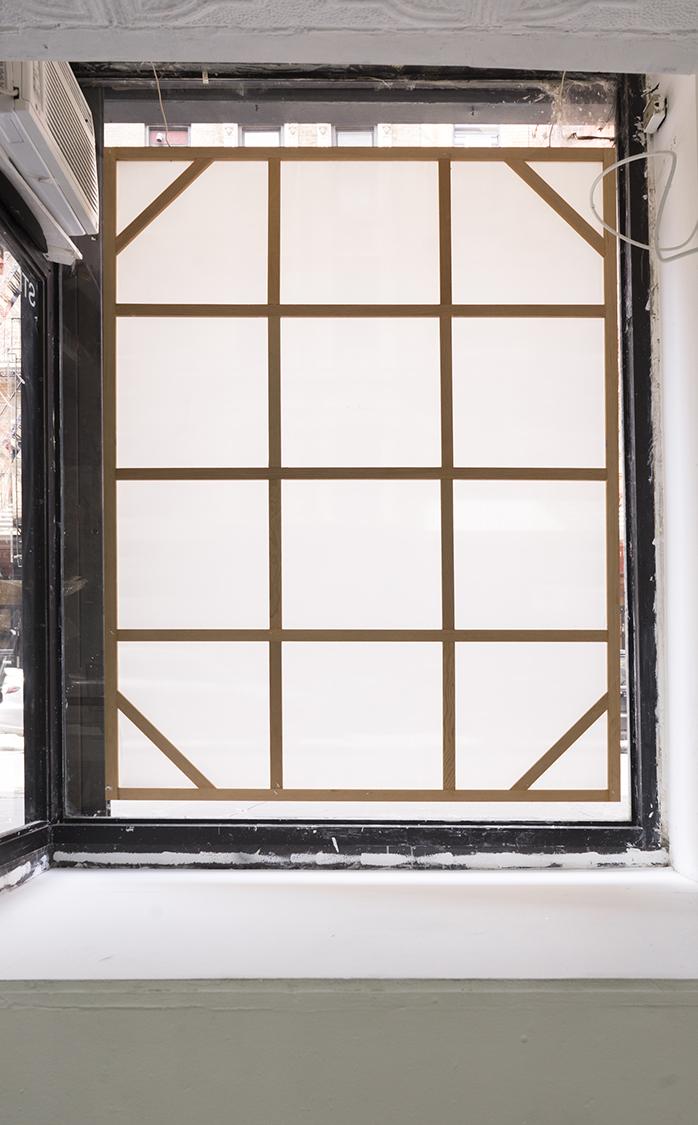 Ben Morgan-Cleveland,  Window 5creen,  2018, apple wood cedar, pine, staples, satin, 62 × 48 × 75 inches