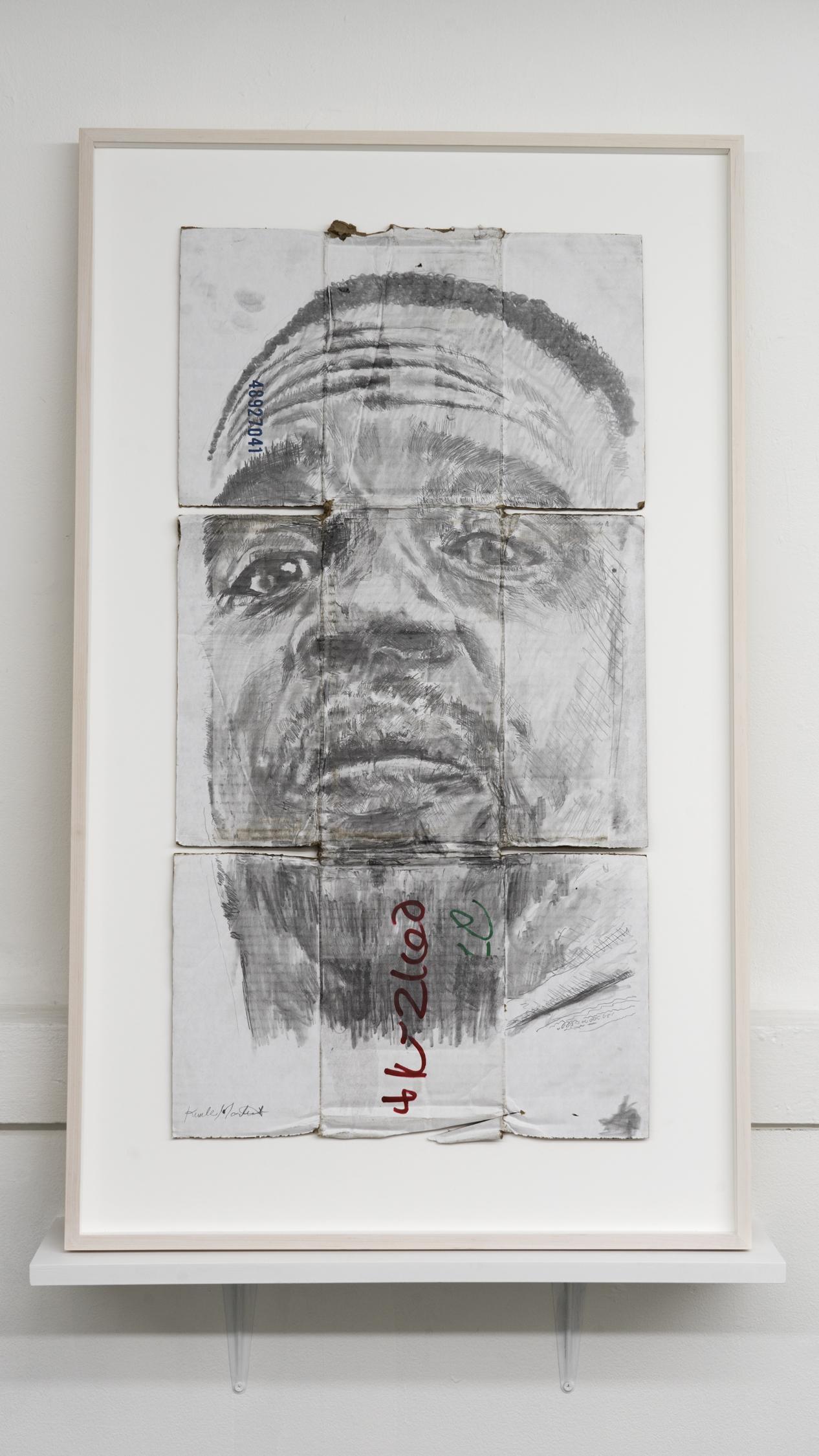 Kunle F. Martins,  Self Portrait,  2019, pencil on found white cardboard box, 29 × 23 ½ inches