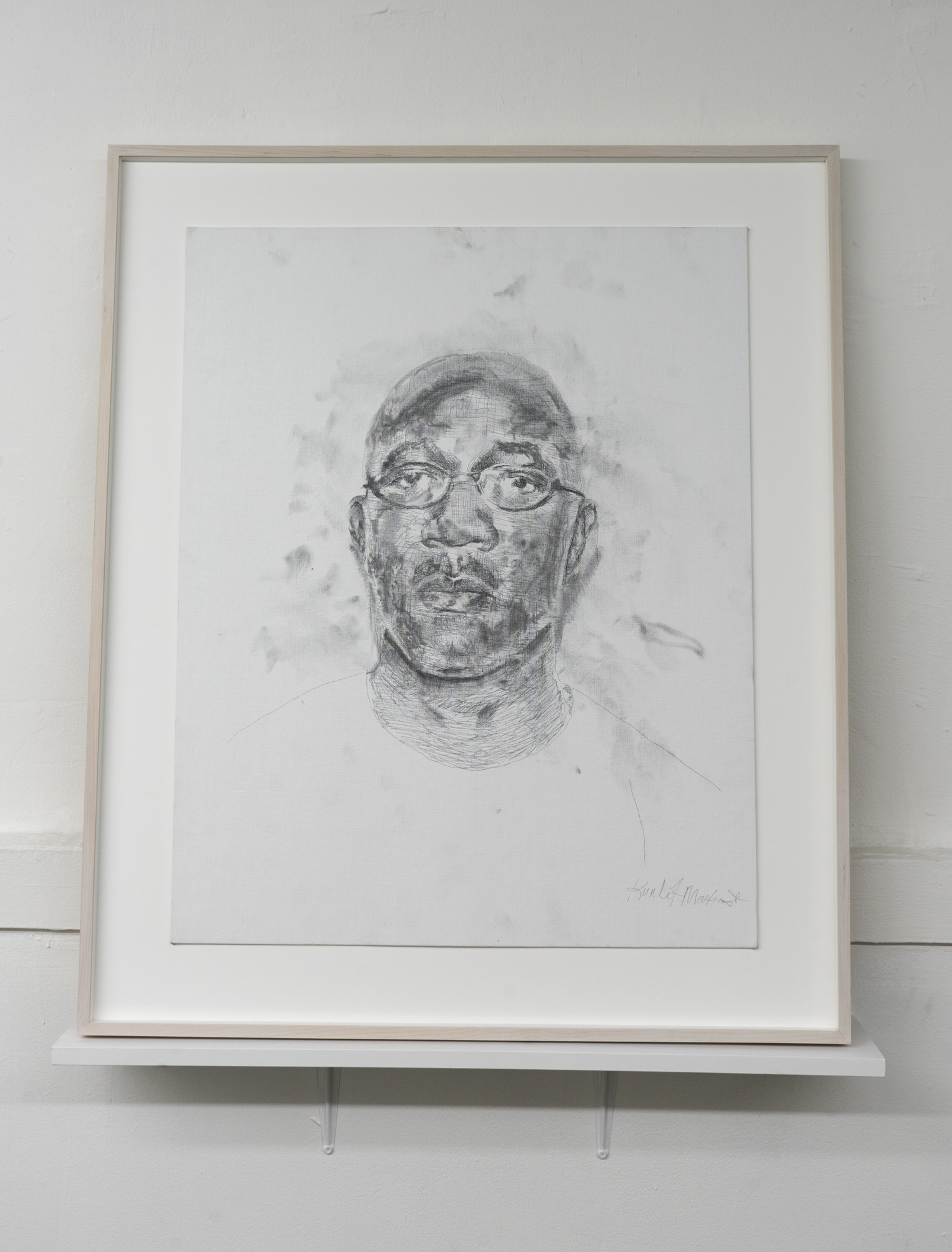 Kunle F. Martins,  DAD,  2018, pencil on white canvas board, 37 × 31 inches