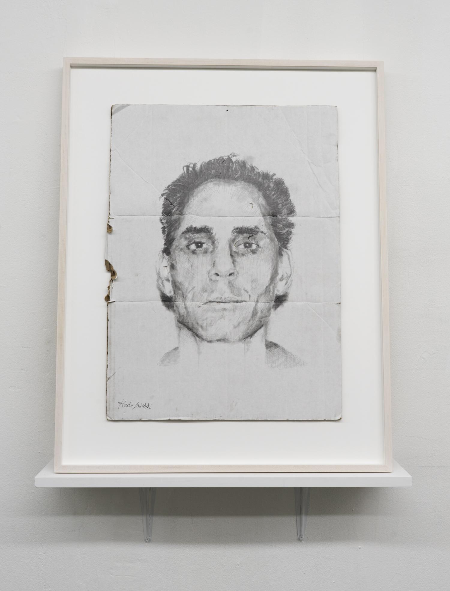 Kunle F. Martins,  Tony,  2019, pencil on found white cardboard box, 29 × 23 ½ inches