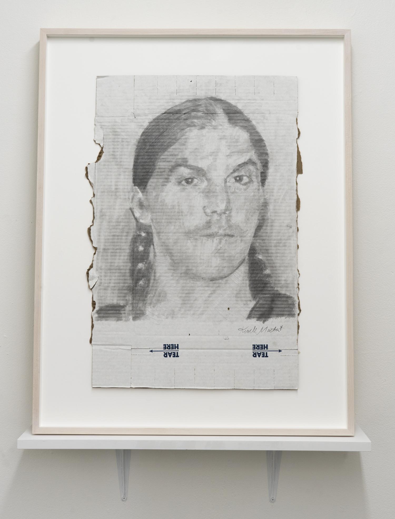 Kunle F. Martins,  Dash,  2018, pencil on found white cardboard box, 31 × 24 inches