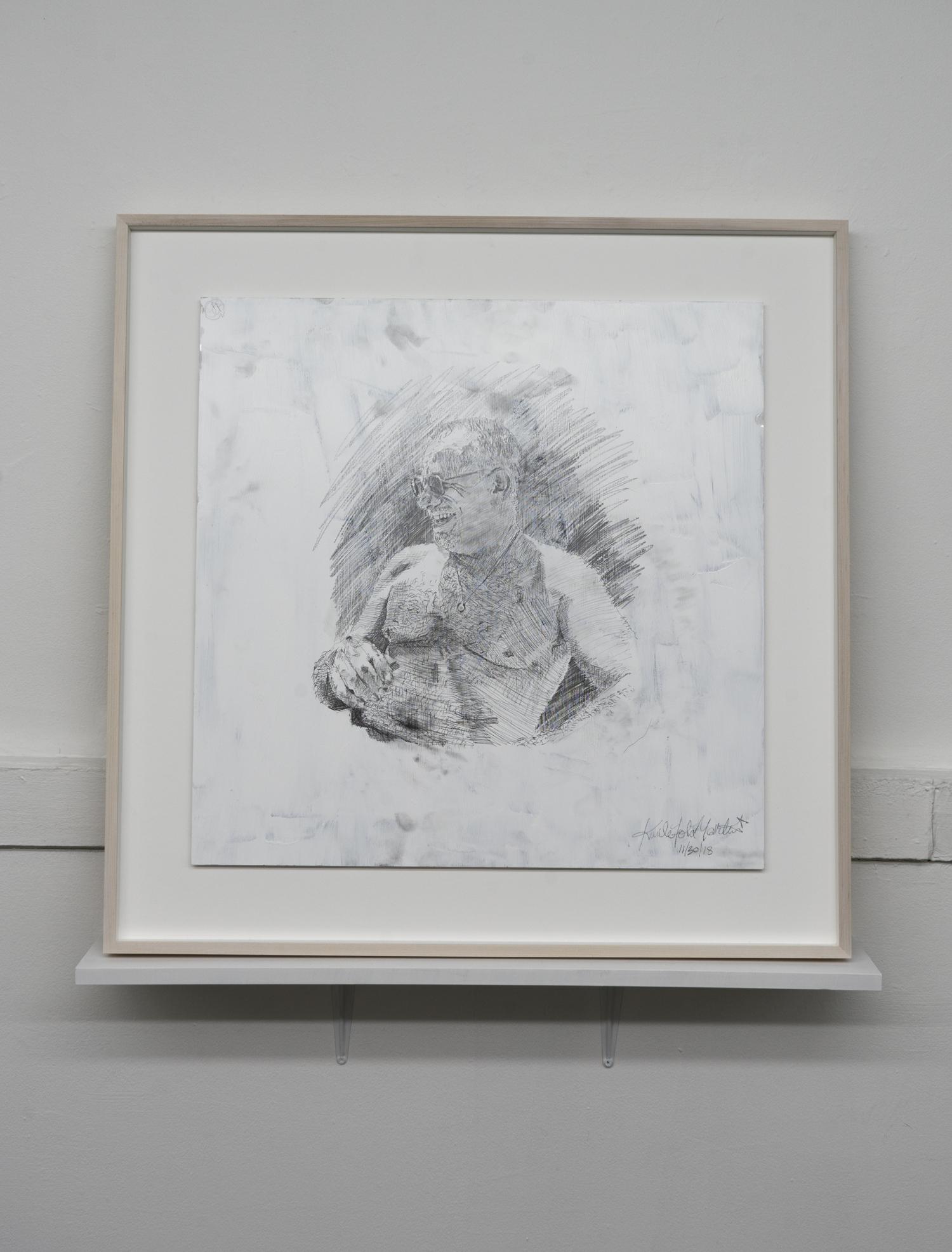 Kunle F. Martins,  Jack,  2019, pencil on found white cardboard box, 31 × 31 inches