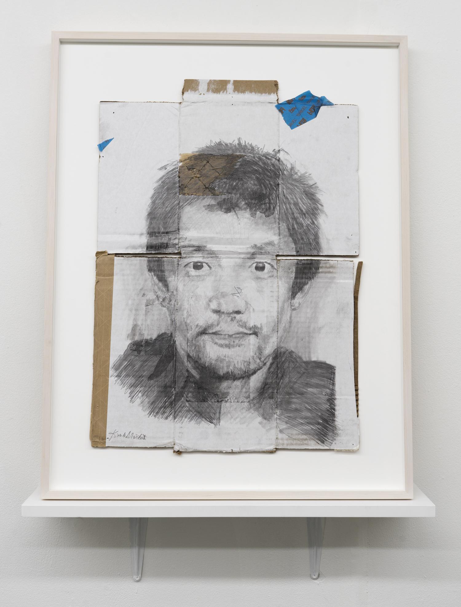Kunle F. Martins,  Kenji, 2018,  pencil on found white cardboard box, 29 ½ × 23 inches