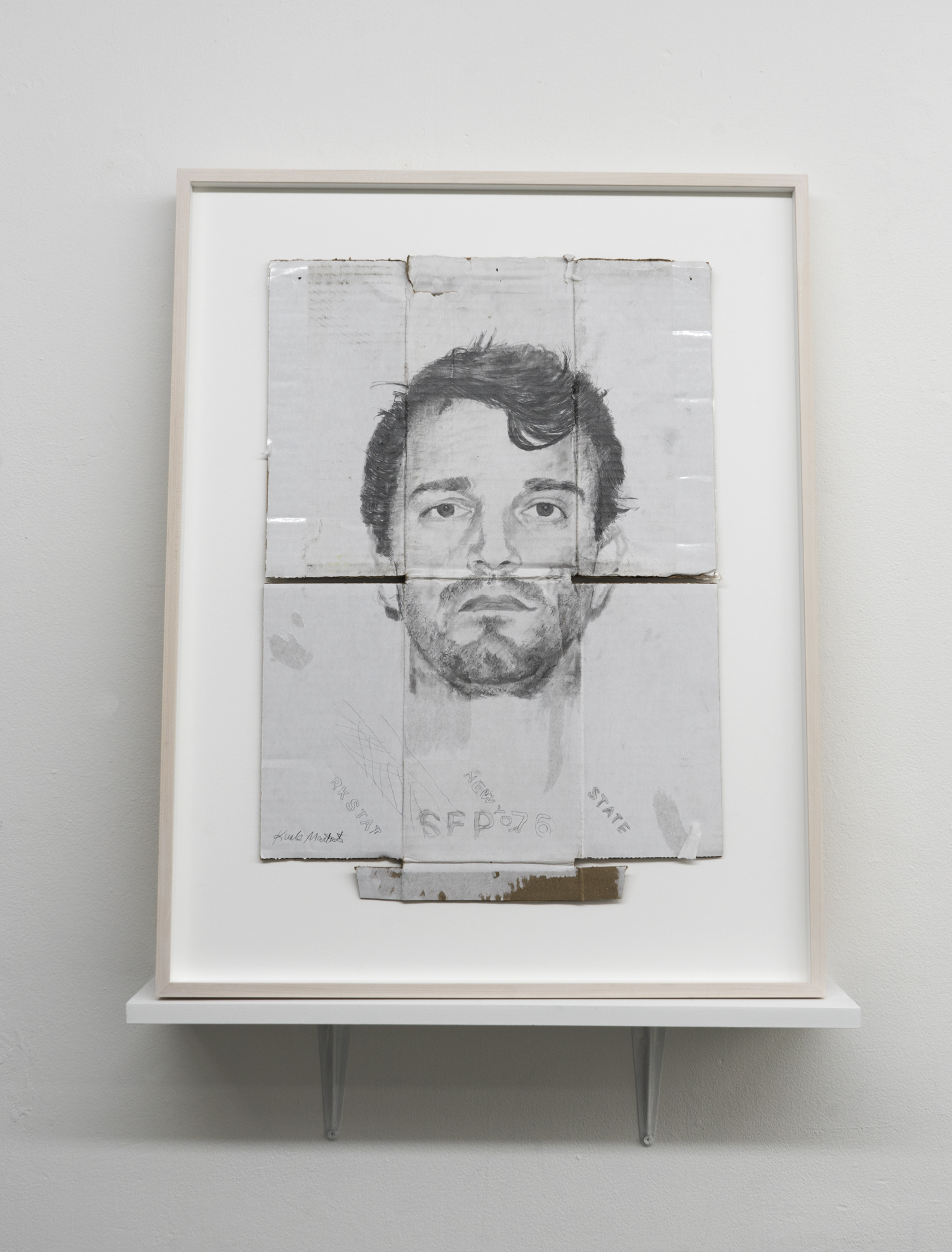 Kunle F. Martins,  Matt, 2018,  pencil on found white cardboard box, 30 × 23 ½ inches
