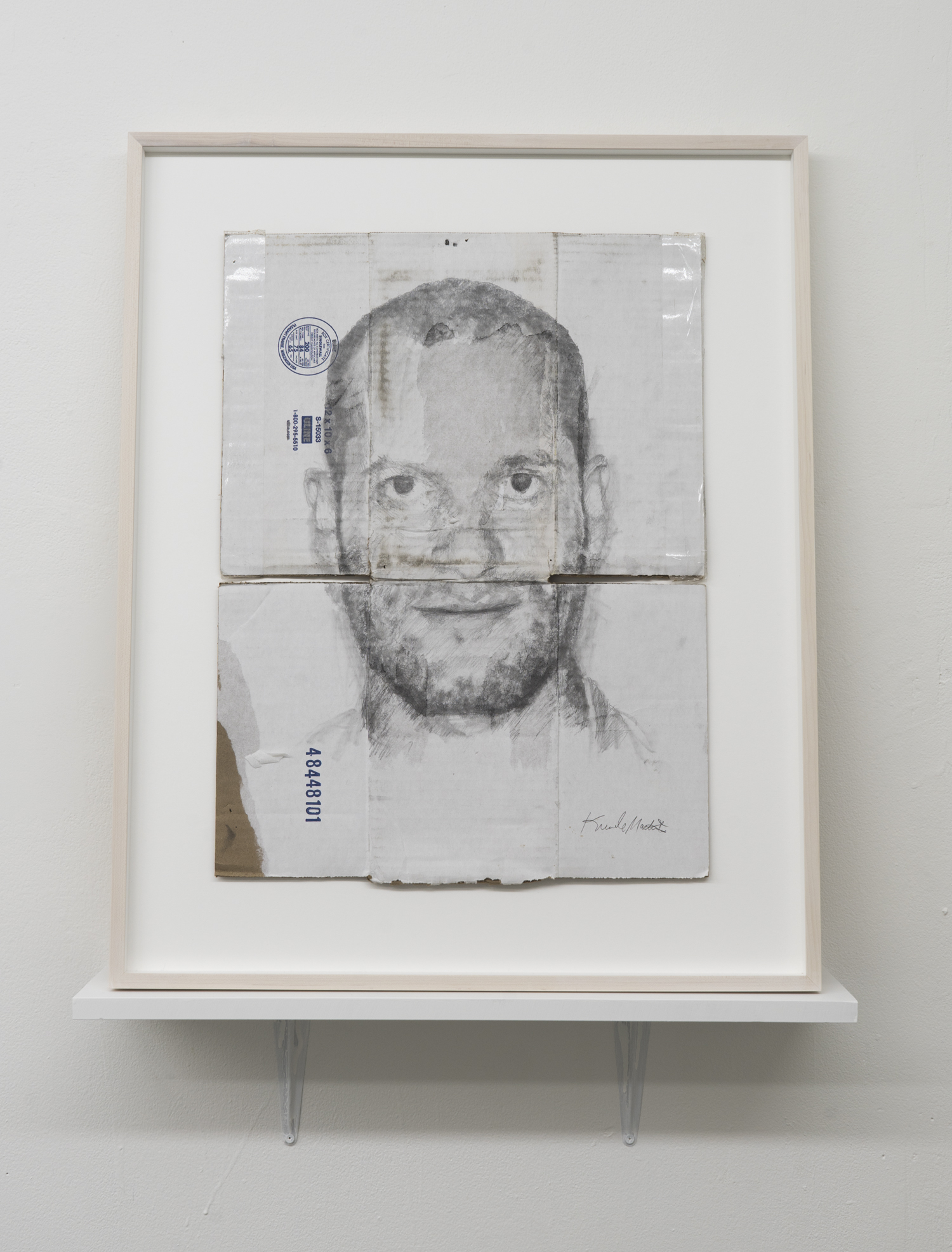 Kunle F. Martins,  A-Ron , 2018, pencil on found white cardboard box, 16 x 22 1/2 inches