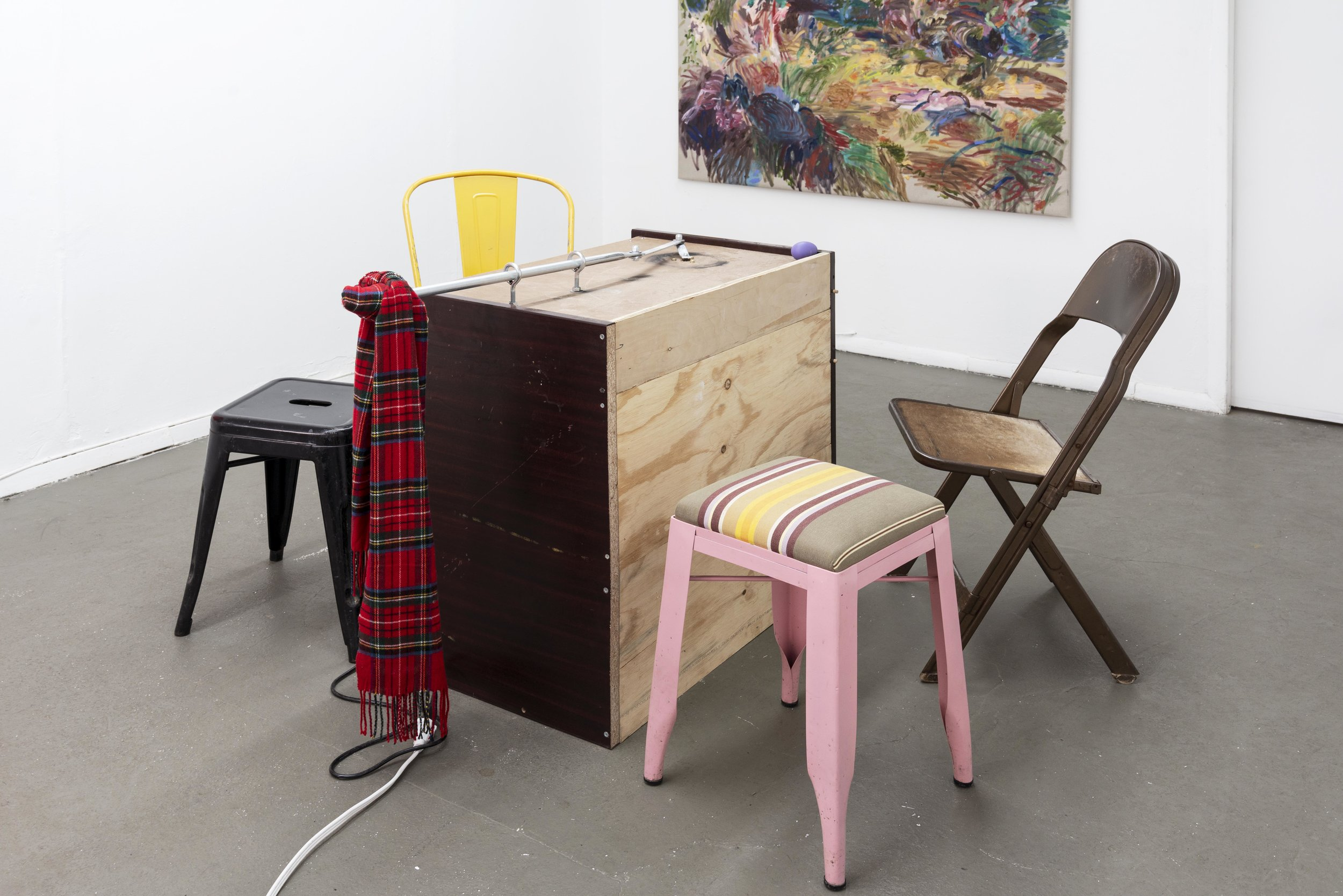 George Egerton-Warburton,  Penal Café: Symptom as Occupation/Business models/Self-surveillance , 2019, wiper motor, tartan scarf, steel, aluminum, cords, café chairs clandestinely appropriated from/in the style of Australian cafés such as Carthage Must be Destroyed, Dudley's, Five Leaves, and also the Butcher's Daughter which is not Australian but adjacent to Charley's and Ruby's.