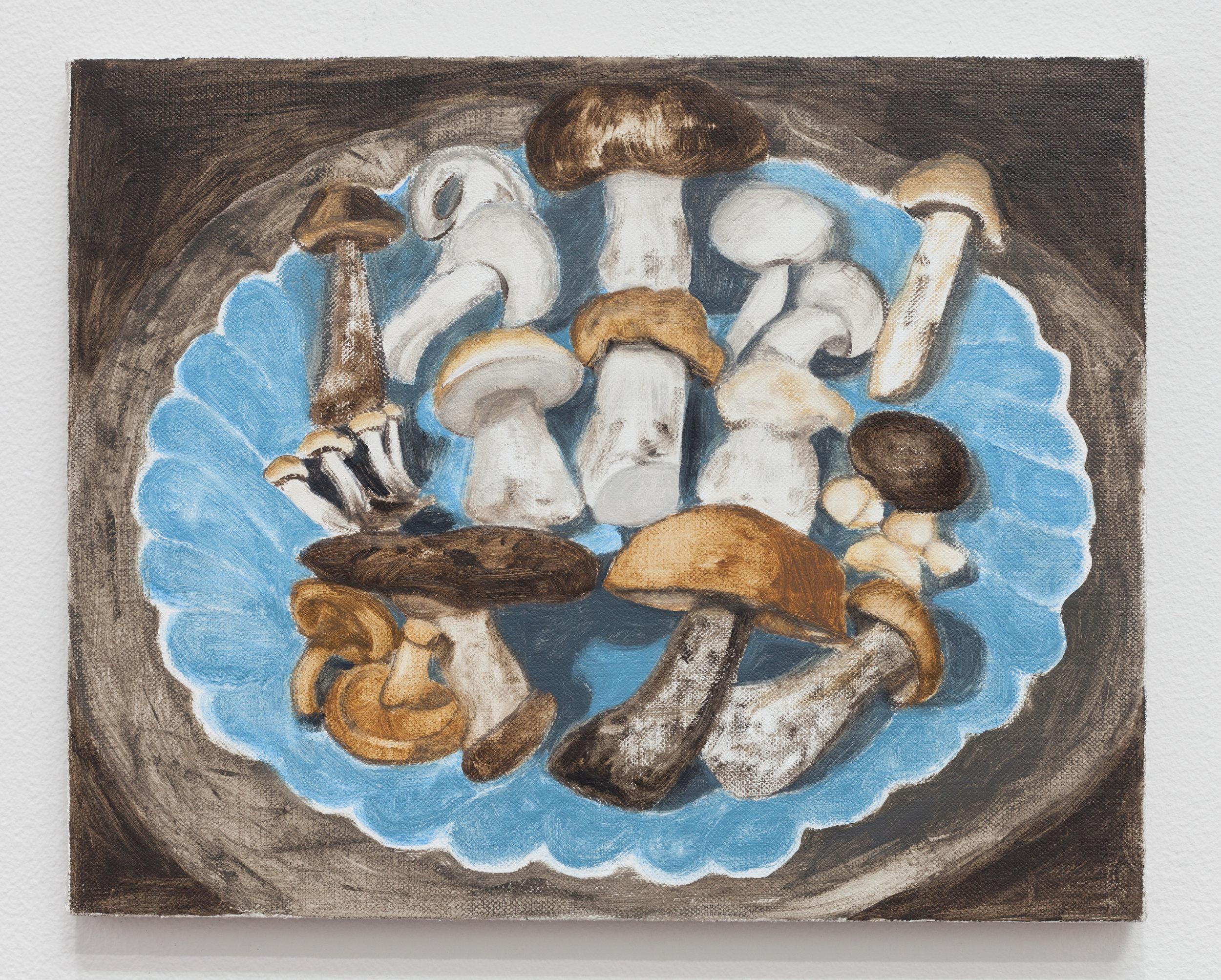 Wild Mushrooms , 2019, oil on linen, 8 × 10 inches (20.32 × 25.40 cm)