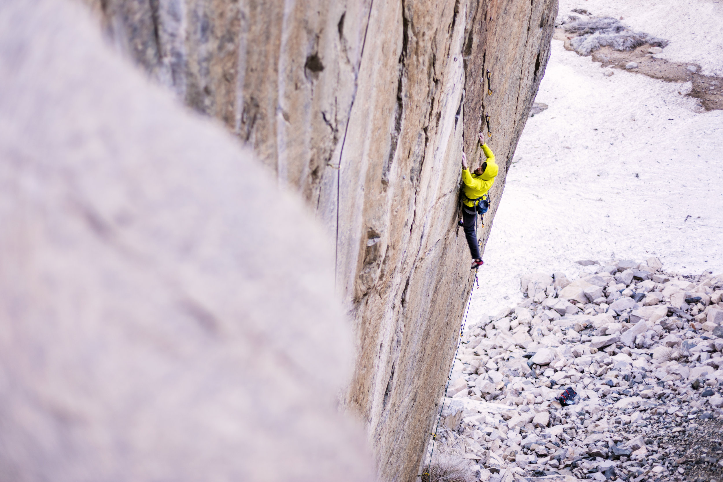 "Ethan Pringle, climbing ""Everything is Karate"" 14c/d in Bishop California."