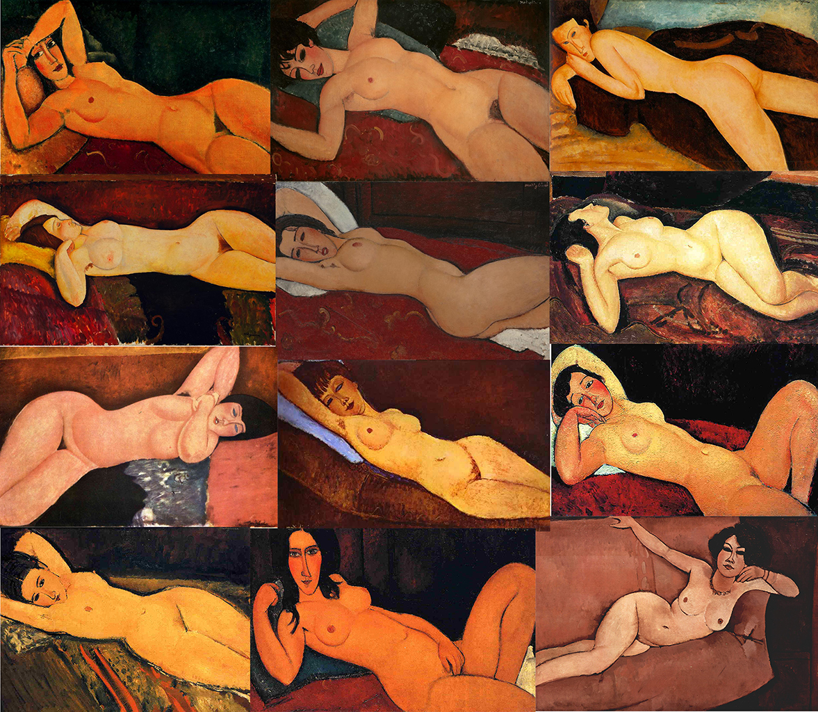 Fig. 1 Nudes from 1916-1919 by Amadeo Modigliani