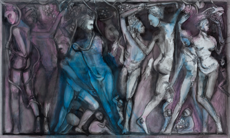65 x 108 inches, charcoal and pastel on canvas, 2016