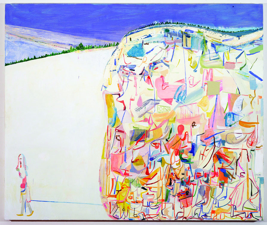 Amy Sillman,  Me & Ugly Mountain , 2003, oil on canvas, 60 x 72 in. Collection of Jerome and Ellen Stern. Photo: John Berens