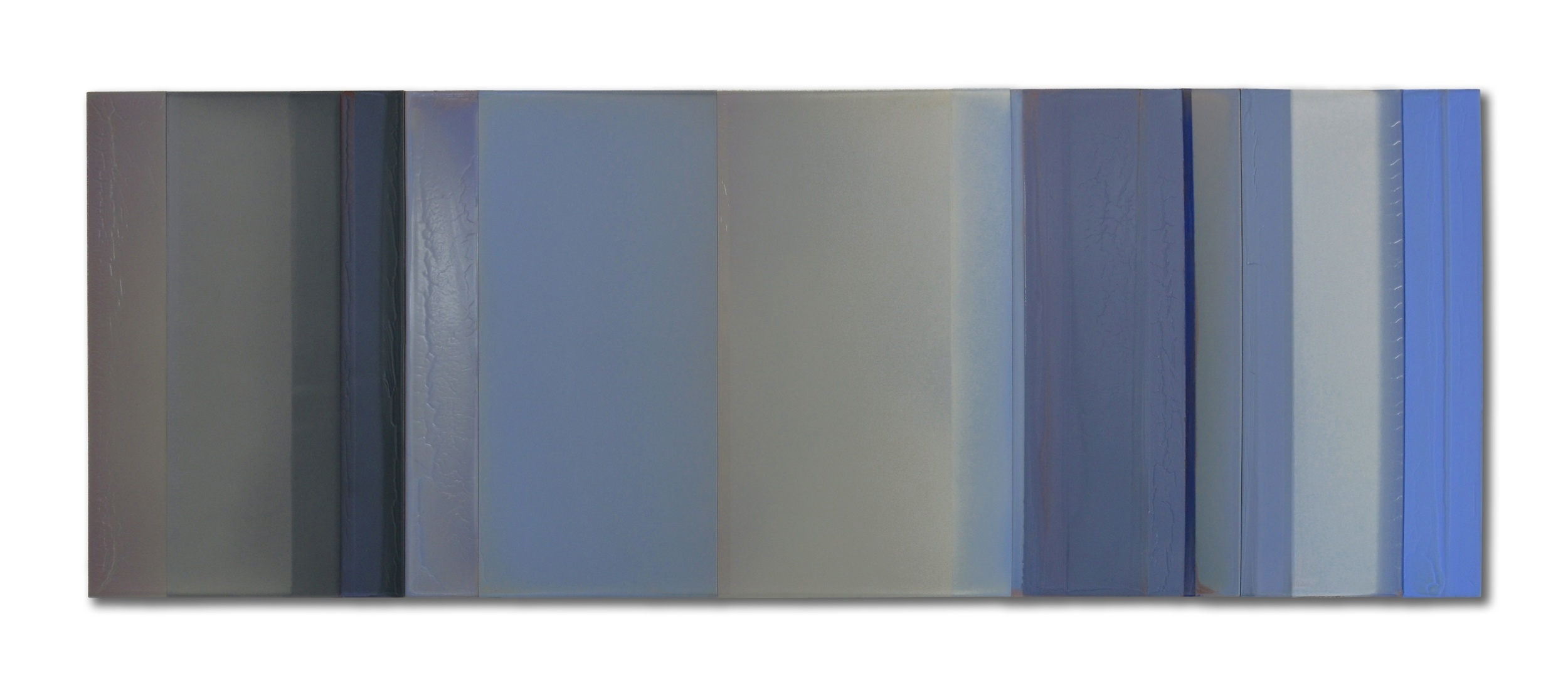 "Blue No.2  23""x 67"" polymer on panel 2014"
