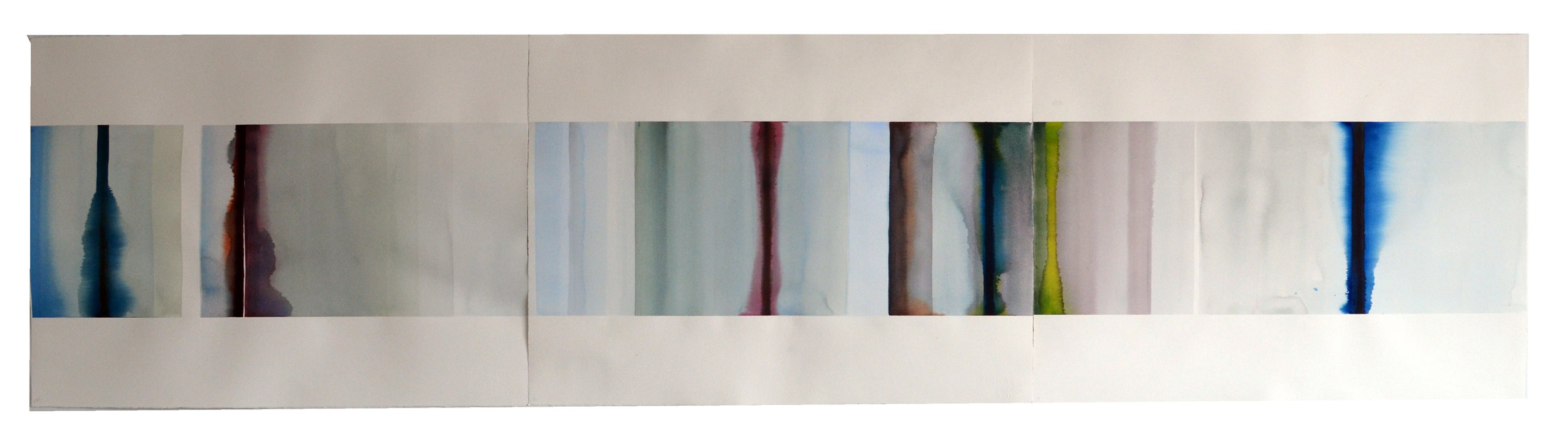 """New Year's Day,  22"""" x 90"""", watercolor on paper, 2015"""