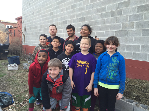 Saugerties Boys and Girls Club with the Long Spoon Collective Sheet Mulching group photo