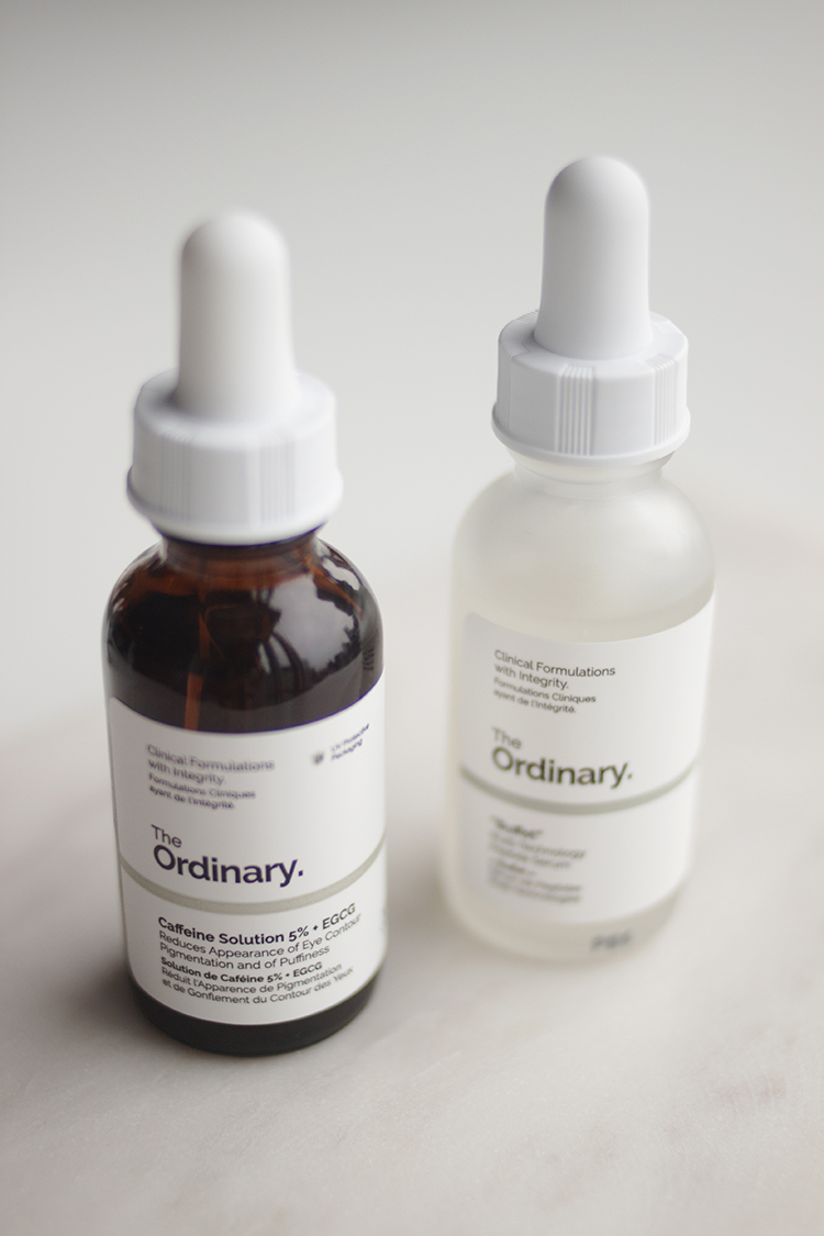 Caffeine Solution 5% + EGCG - I'm pretty skeptical about caffeine in skincare, but I trust that The Ordinary wouldn't bother putting their resources into research and subsequently creating a product they didn't believe would deliver results. The trouble is that results from caffeine are only temporary so if I stopped using this I would stop seeing results as it's not a long-term solution.The Caffeine Solution 5% + EGCG claims to reduce the appearance of dark circles and puffiness in the under-eye area, and while I don't think much can be done skincare-wise to help dark circles, I do think using a drop of this morning and night has helped reduce the puffiness under my eyes a bit.If your under-eyes are particularly dehydrated you may prefer something richer than this, and if you want to be high maintenance about it (which I mean in a nice way) you could mix a drop of this with an eye cream to get the best of both worlds. Realistically, I use all my skincare around my eye area and have never had any reactions, so I don't believe a dedicated eye product is strictly necessary, but I'm perfectly happy using this right now.