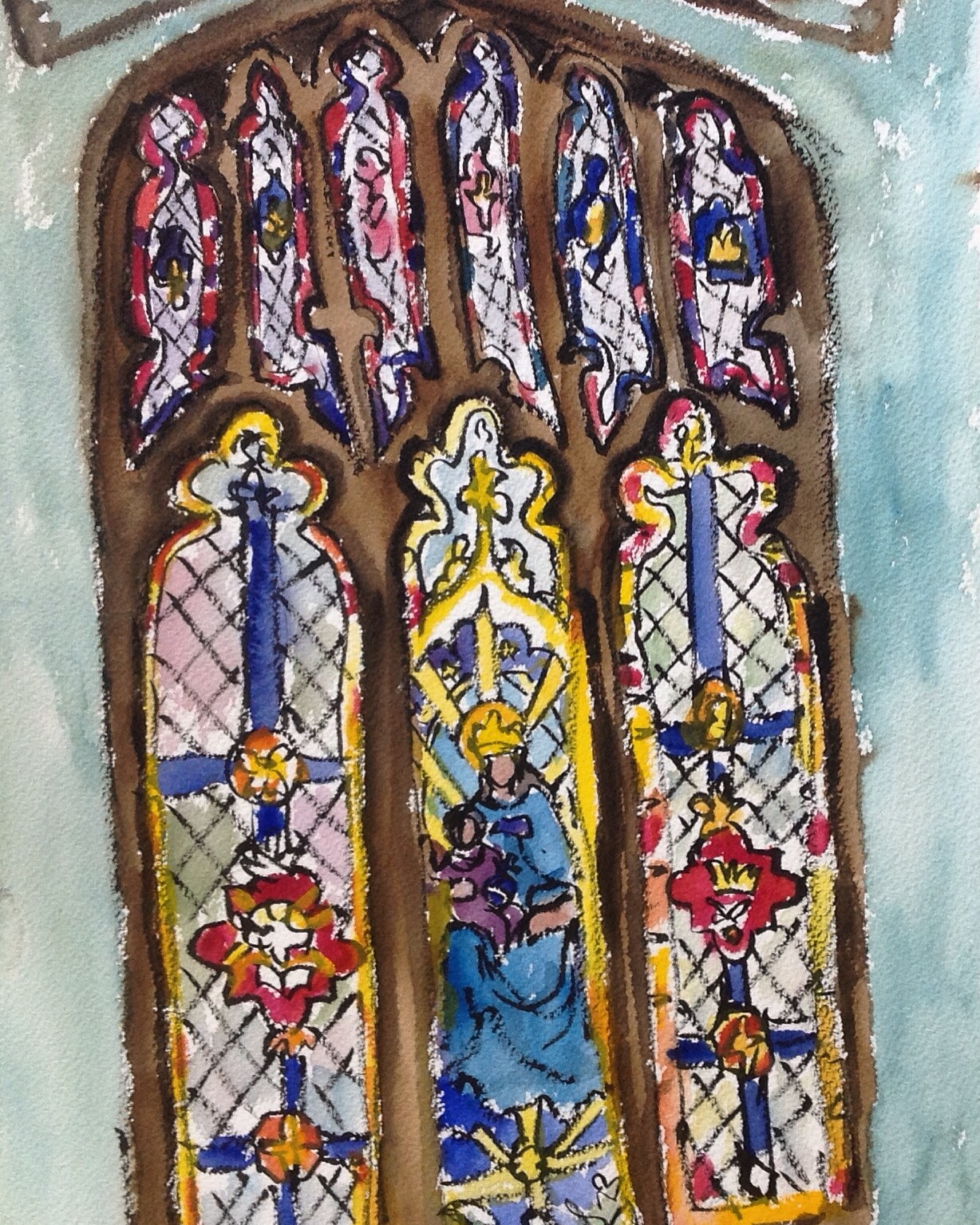 """Sketched this while sitting on a pew. I wonder if painting in a chapel is considered sacrilegious? I doubt it since a service wasn't going on and I was surrounded by so much art aimed at beautifying the chapel (""""glorifying god"""" is probably how it would be termed)."""